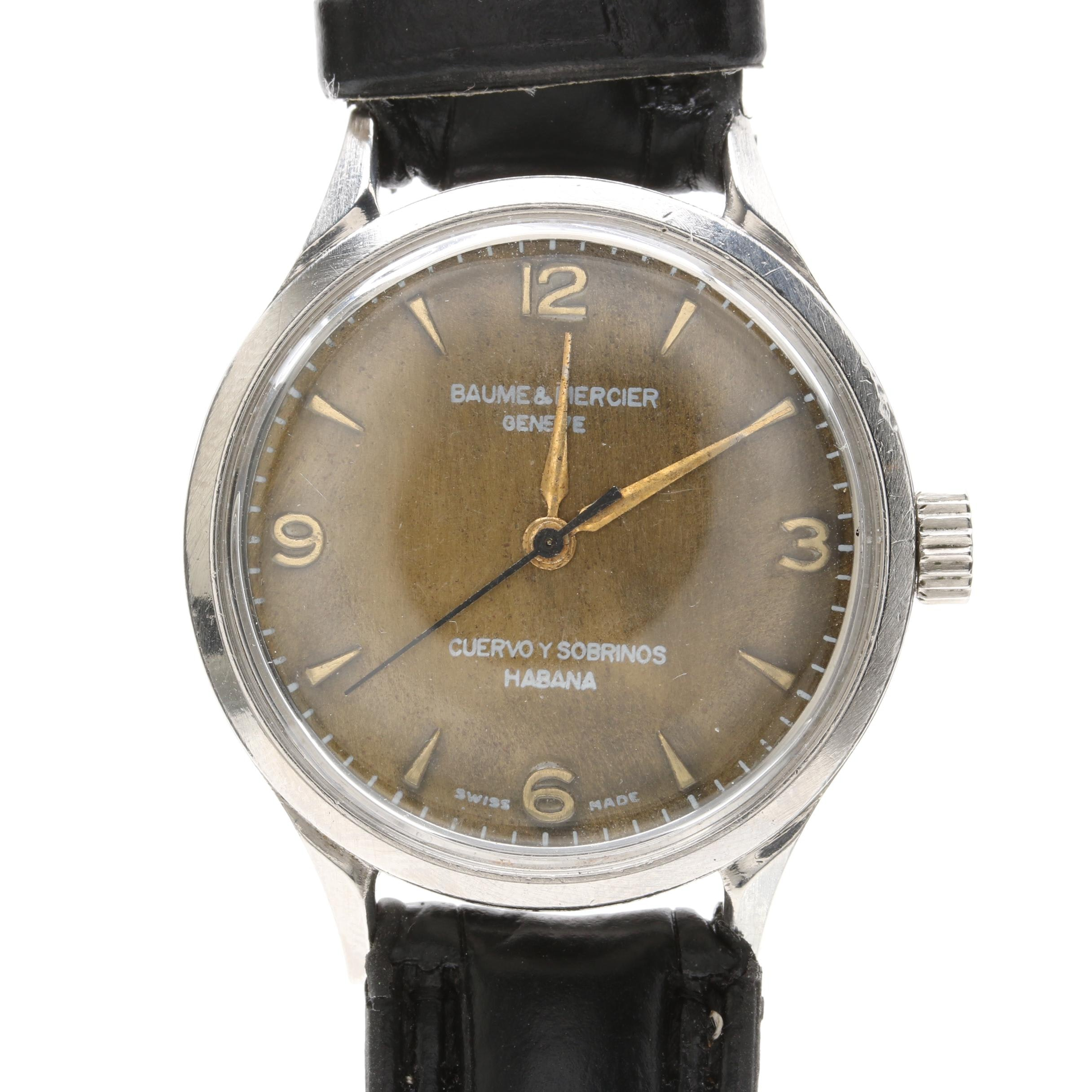 Baume and Mercier Stainless Steel Leather Wristwatch