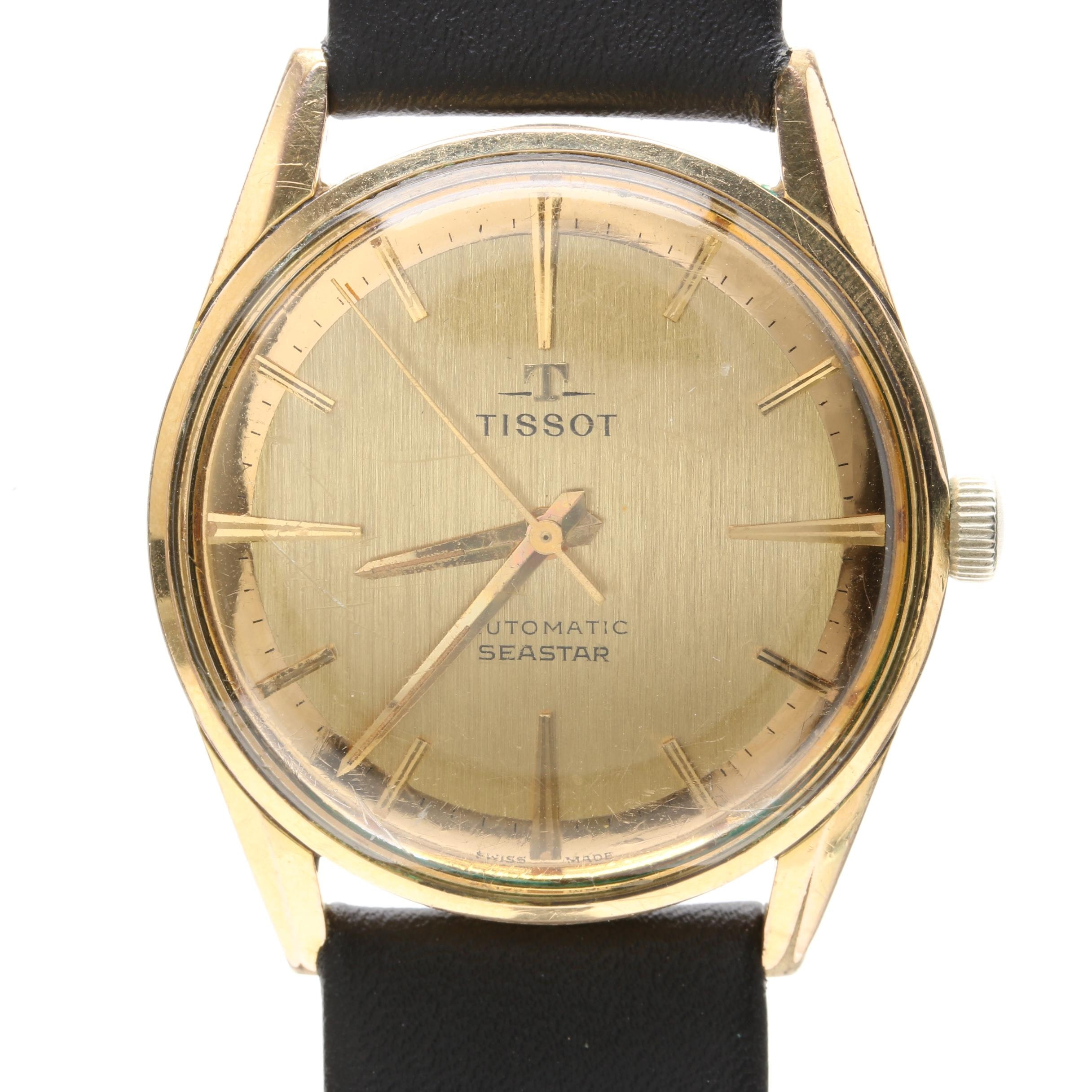Tissot Gold-Plated Stainless Steel Black Leather Wristwatch