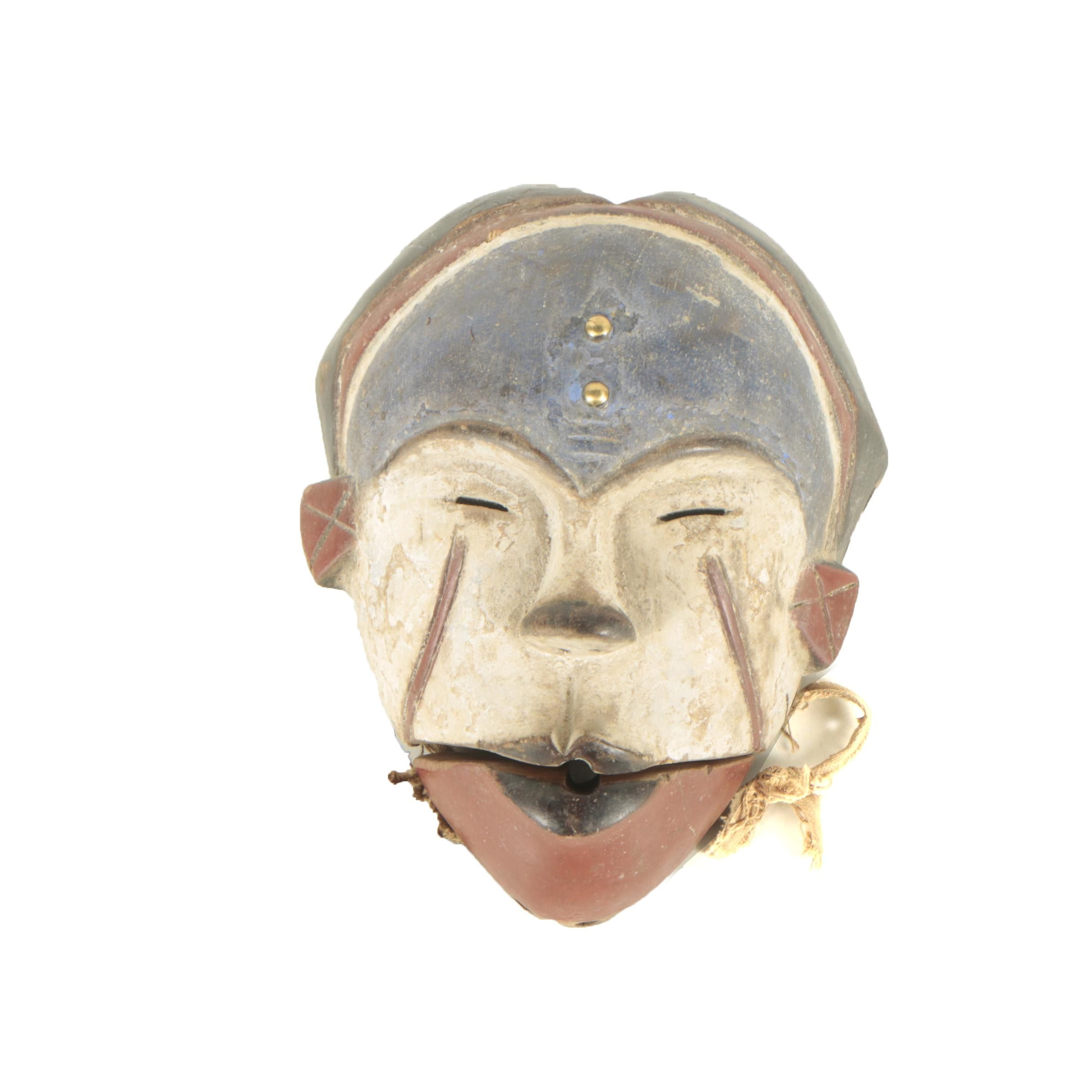 20th Century Hand-Carved Central African Wooden Mask