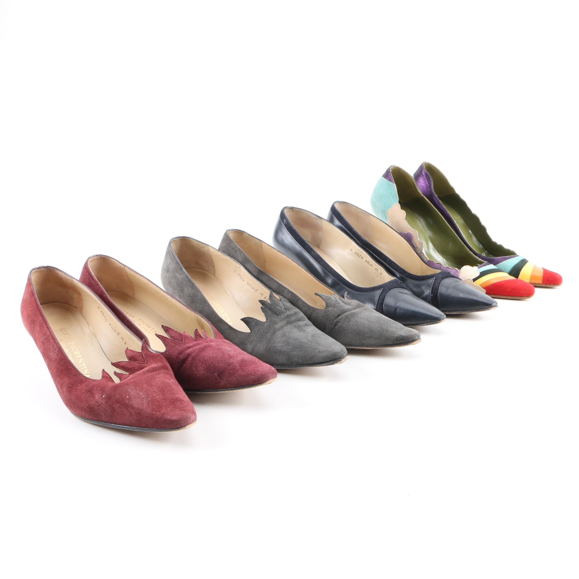 Women's Suede and Leather Heels Including Silvia Fiorentina and Ashley Dearborn