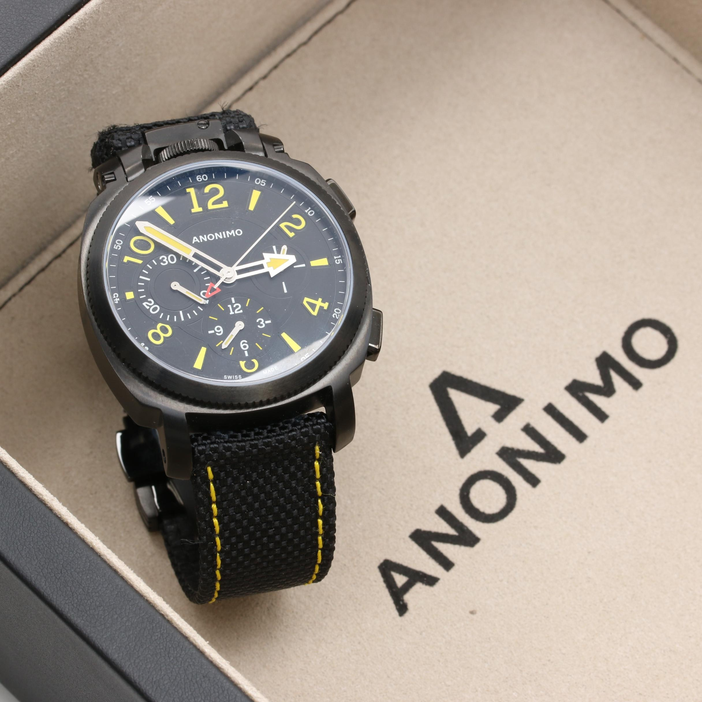 Anomino PVD Coated Stainless Steel Chronograph Wristwatch with Nylon Strap