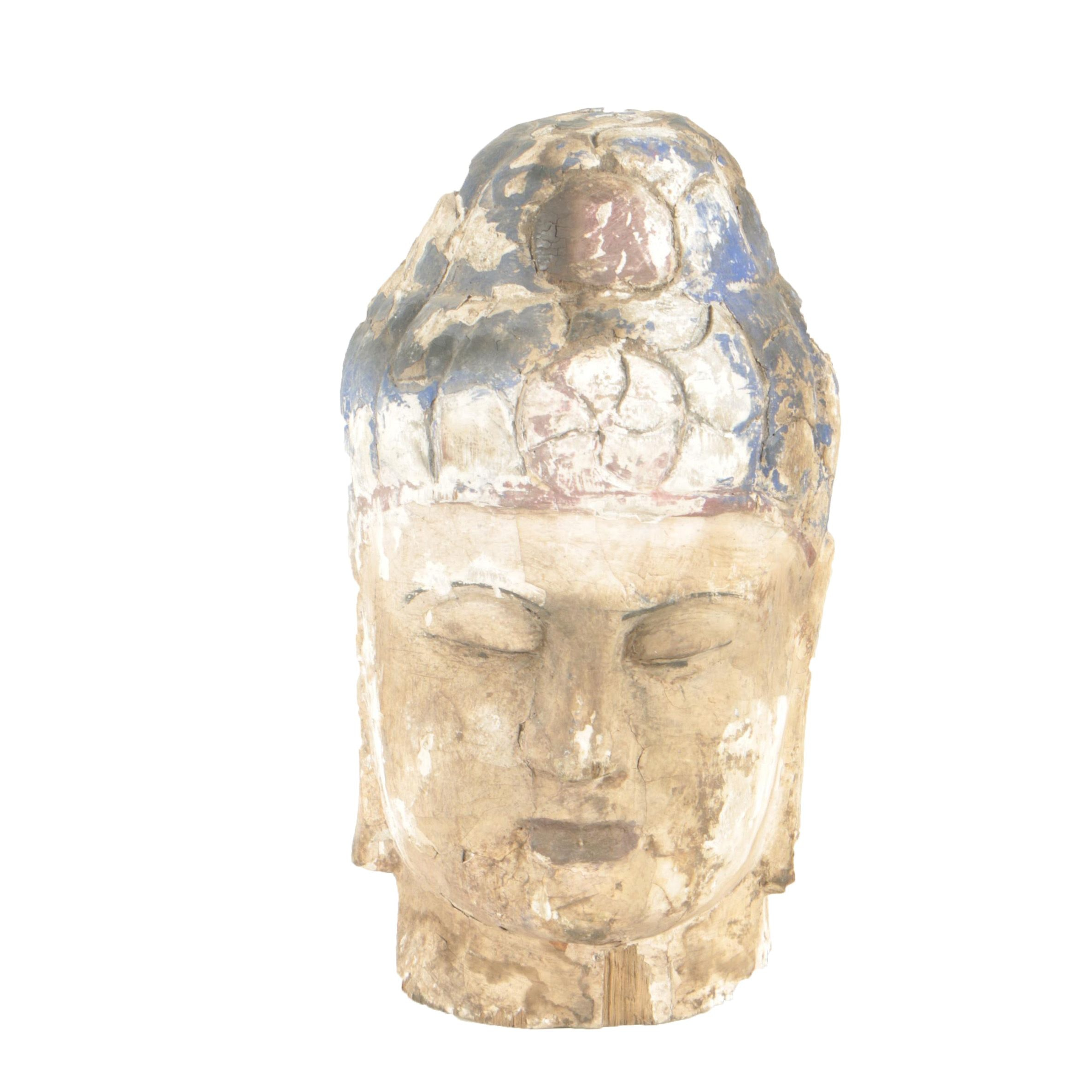 20th Century Carved Wooden Bust of Buddha