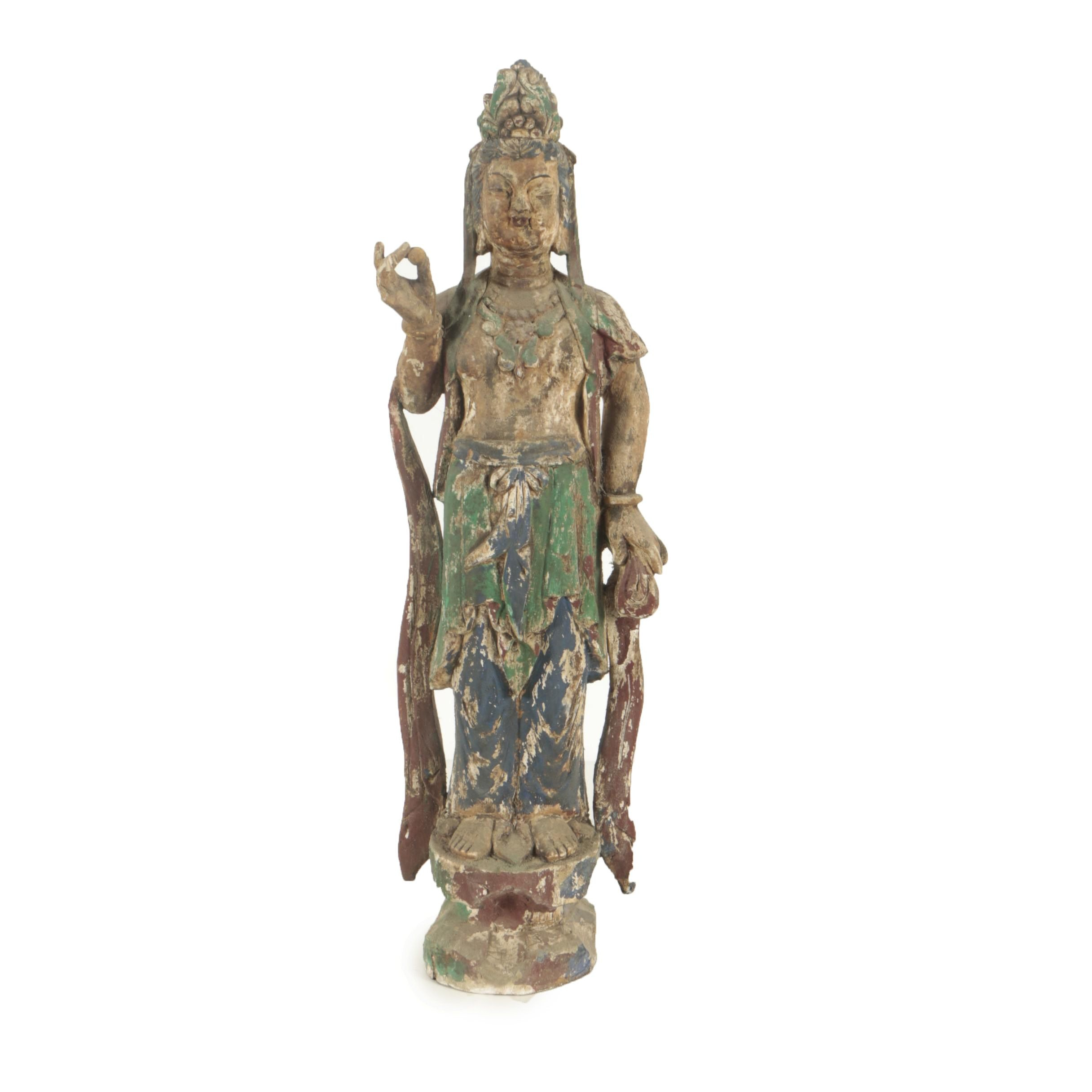 20th Century Standing Buddha Wooden Carving