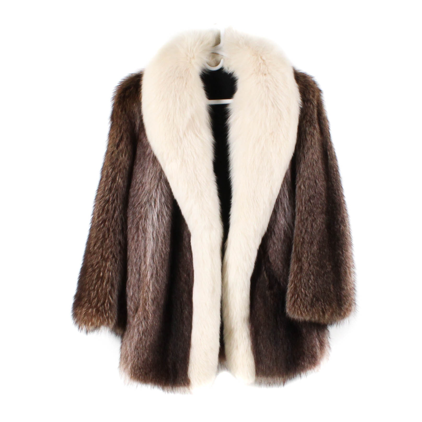 Raccoon Fur Stroller Trimmed in White Fox Fur