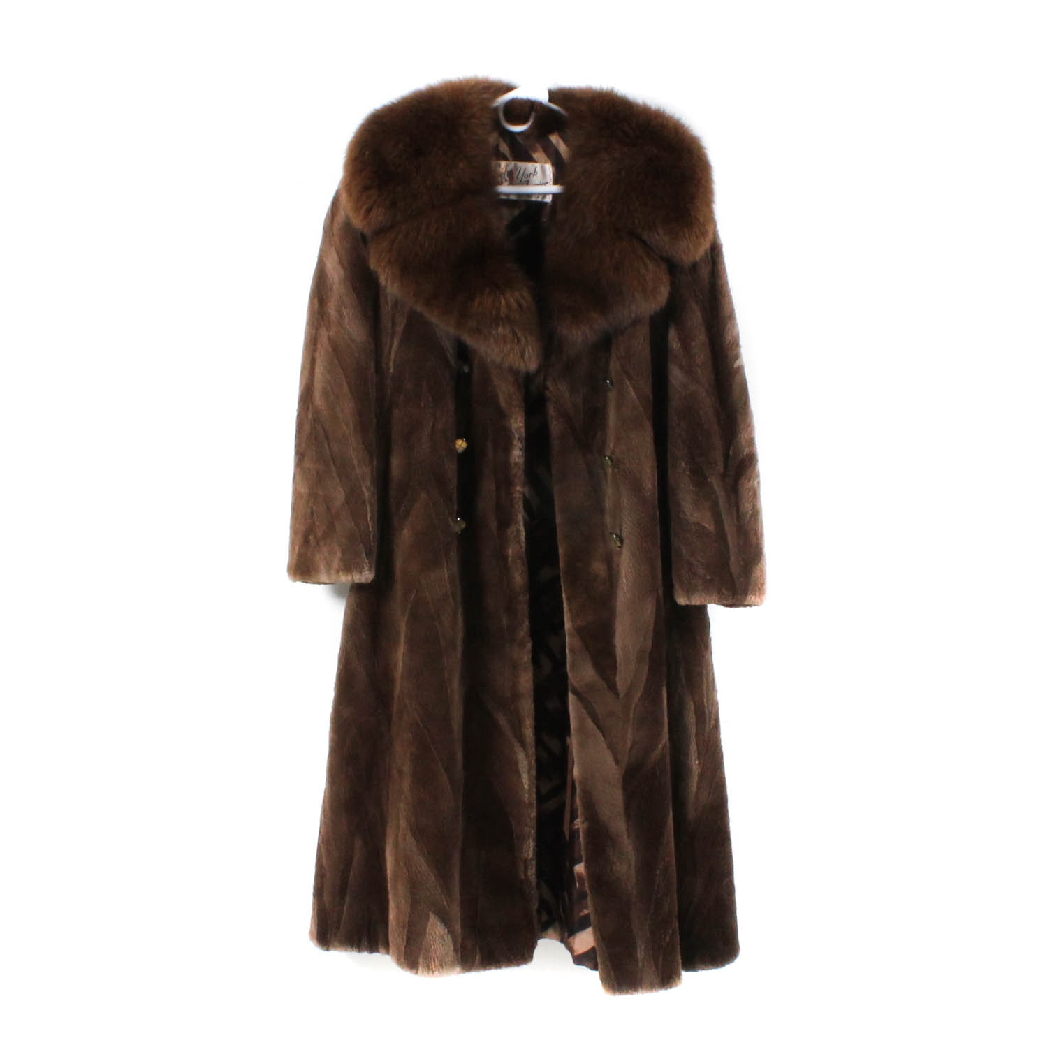 Vintage Sheared Beaver Fur Coat Trimmed in Fox Fur