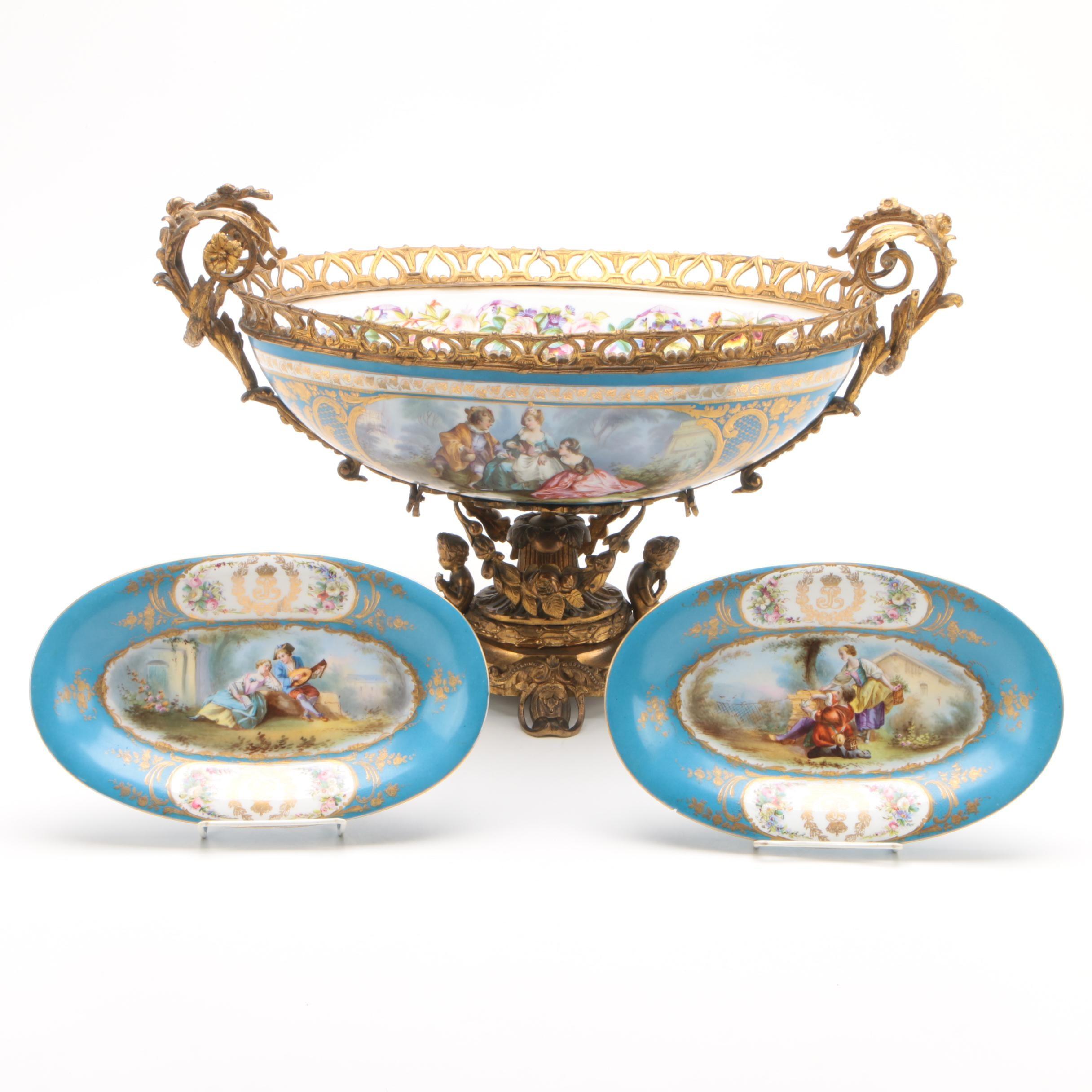 Antique Sévres Chateau Des Tuileries Centerpiece Bowl and Trays