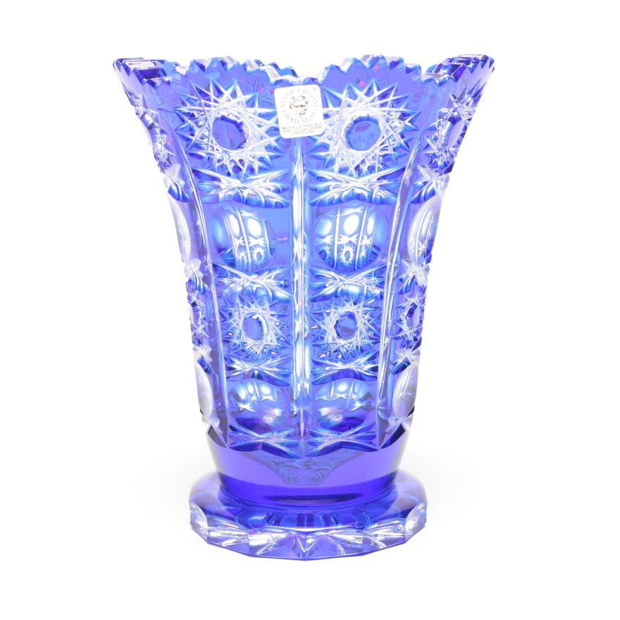 Bohemian Blue Cut To Clear Crystal Vase By Ceasar Ebth