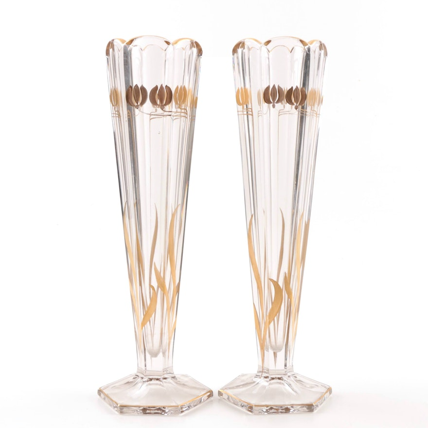 Pair Of Glass Vases With Gold Paint Decoration Ebth