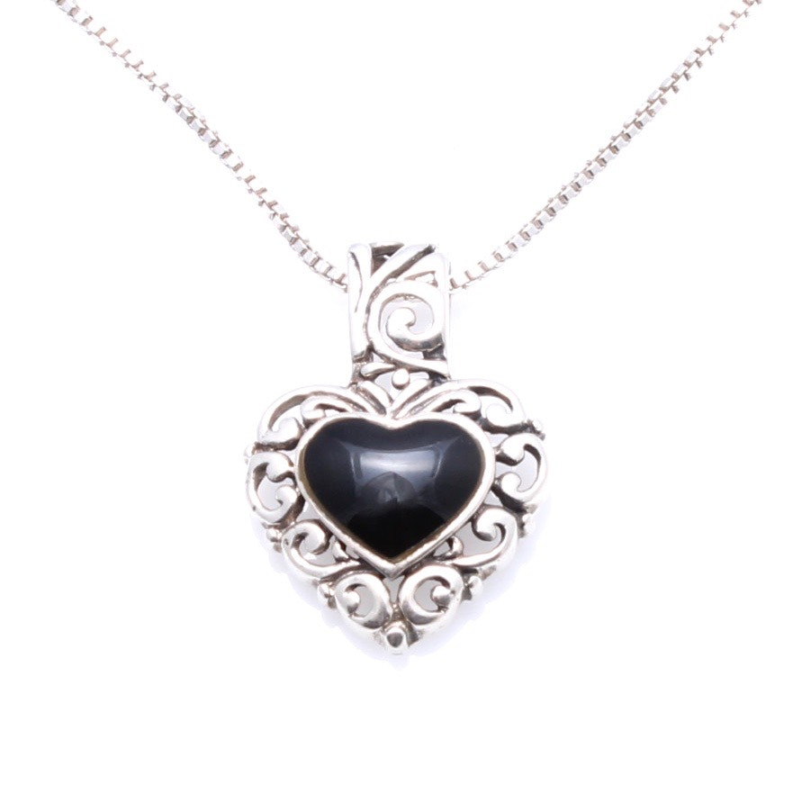 Sterling Silver Onyx Heart Pendant Necklace