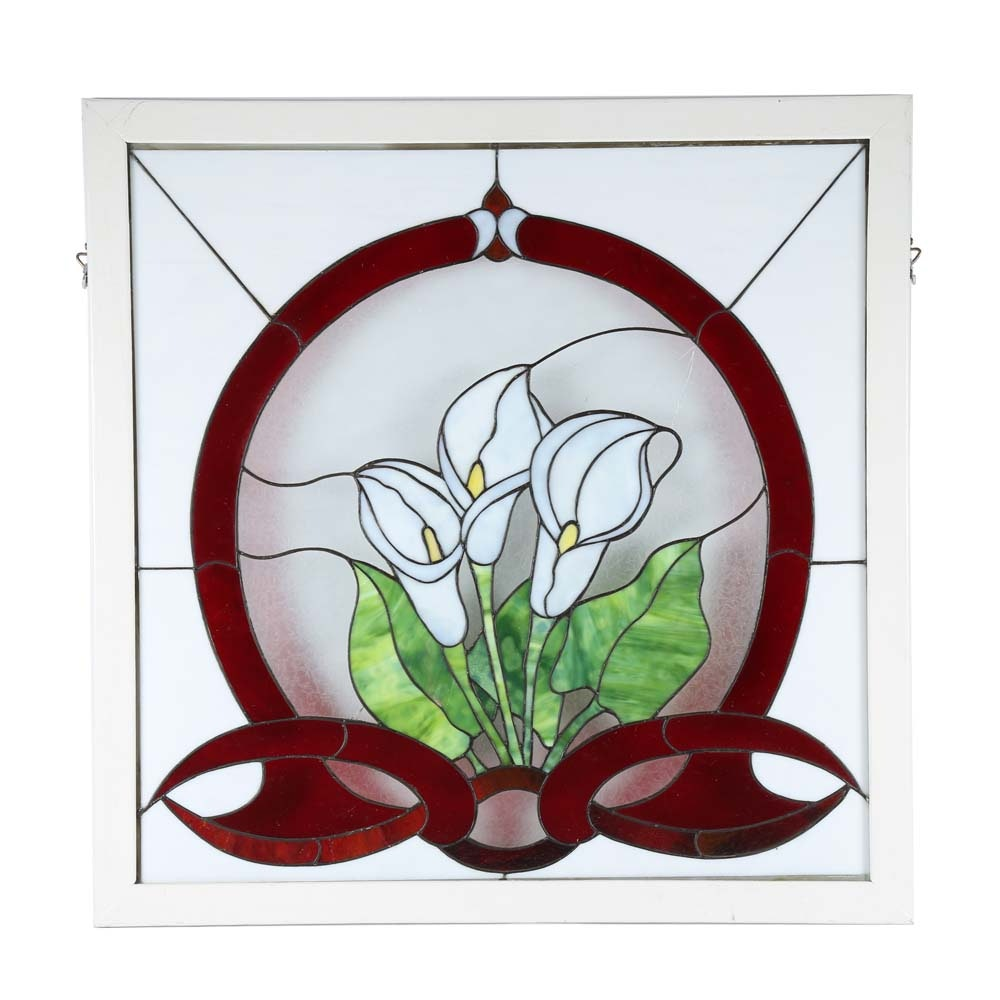 Stained Glass Peace Lily Window Pane