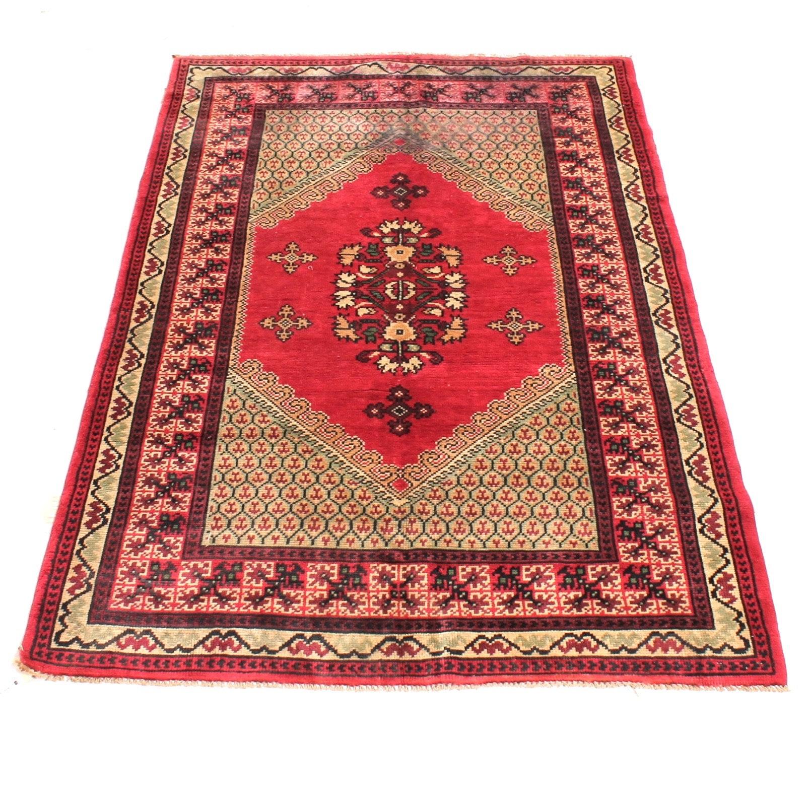 Vintage Hand-Knotted Persian Seneh Bijar Rug