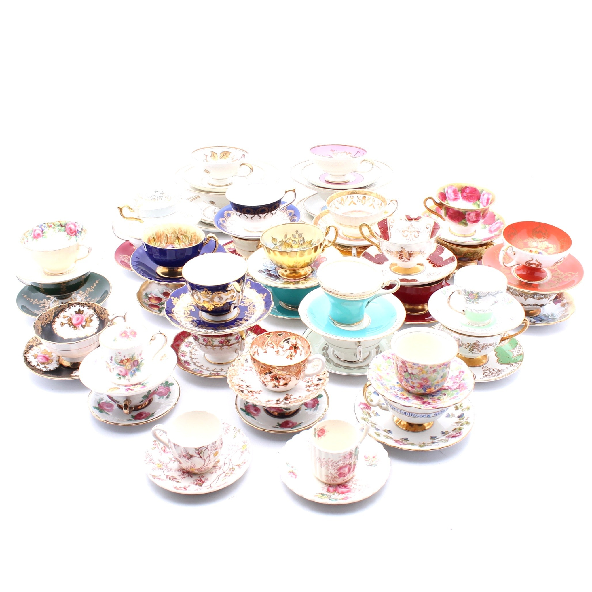 Porcelain Tea Cups and Saucers including Copeland Spode and Aynsley