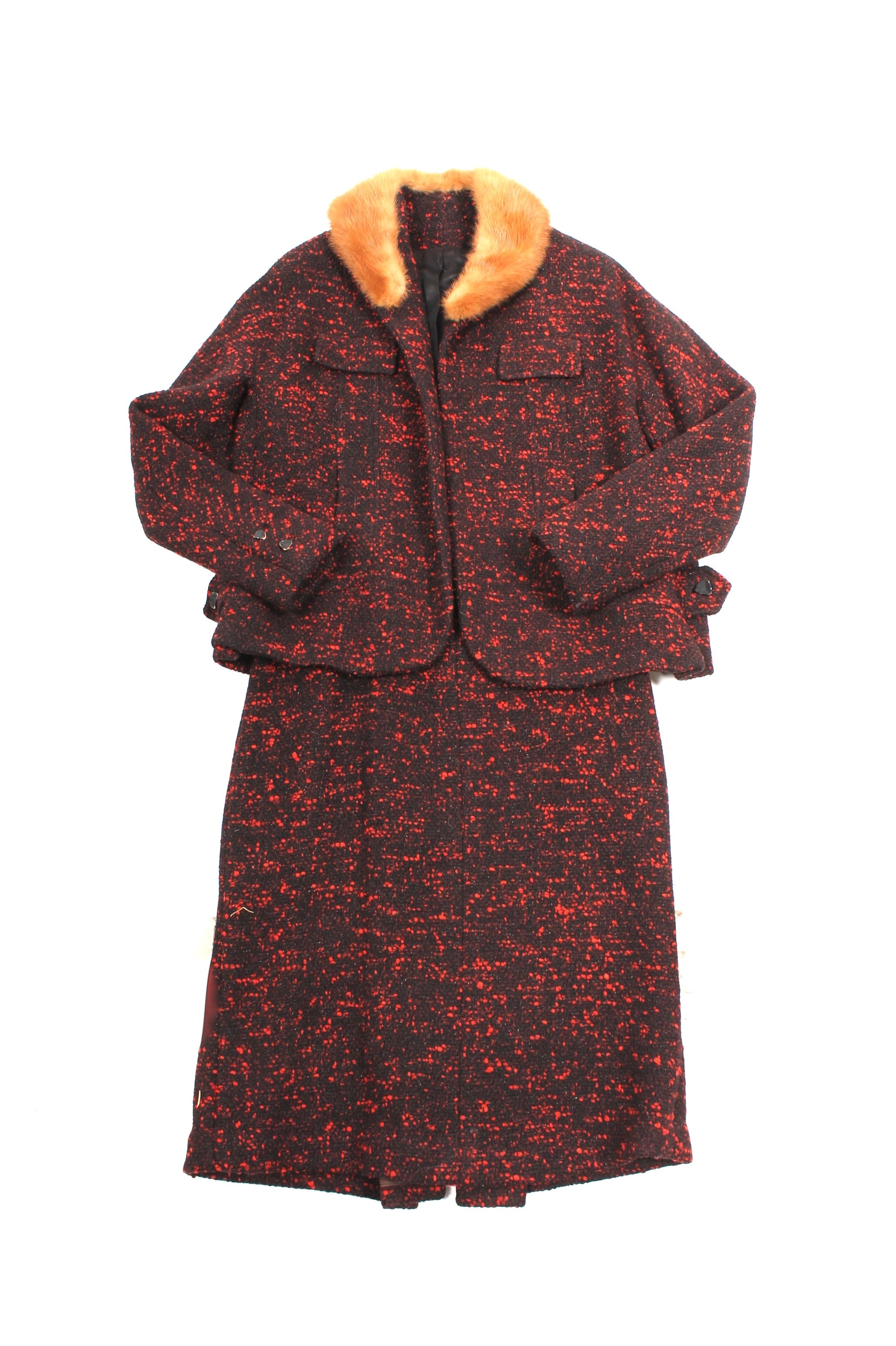 Vintage Bouclé Wool Jacket With Mink Collar and Skirt