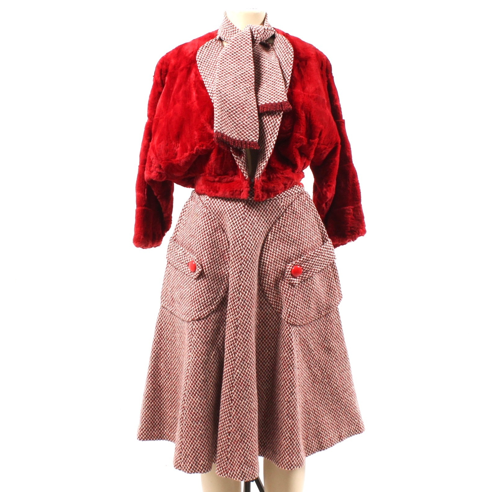 Vintage Roland Originals Dyed Sheared Rabbit Coat and Wool Tweed Skirt Ensemble