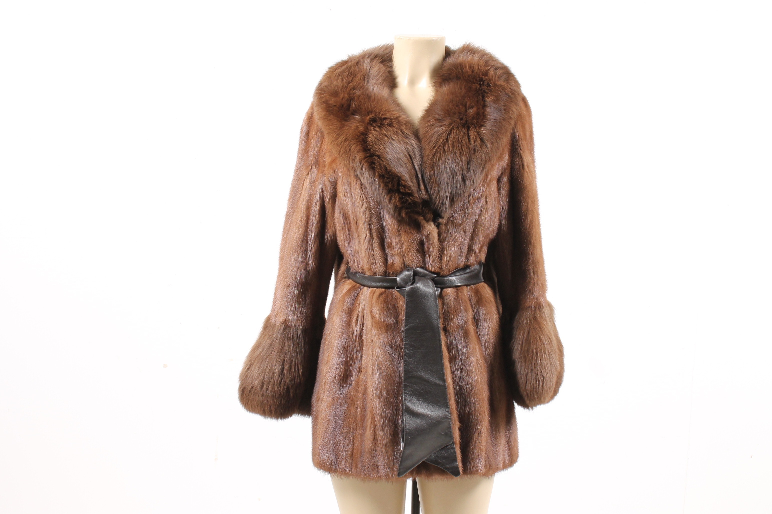 Vintage Mink Fur Coat Trimmed in Fox Fur with Leather Tie Belt