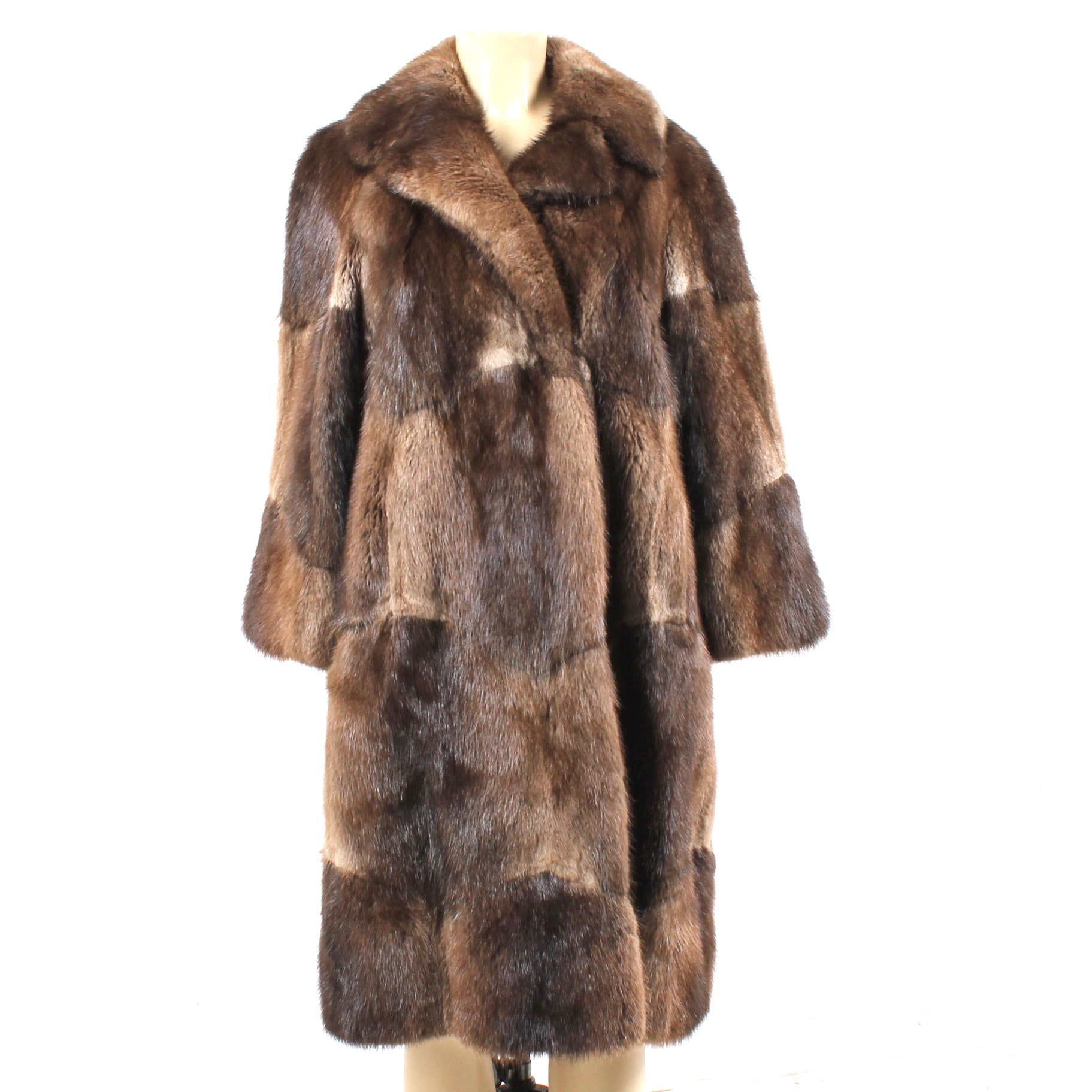 Full Skin Muskrat Fur Coat