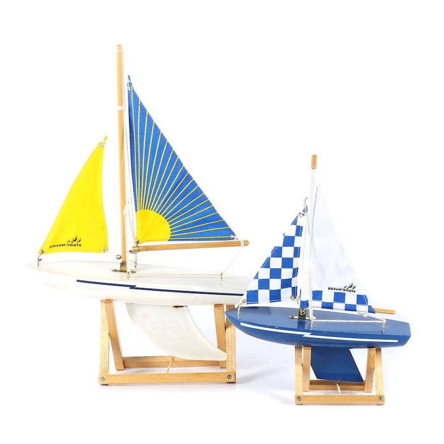 Pair of Vintage Bosun Boats Model Sailboats