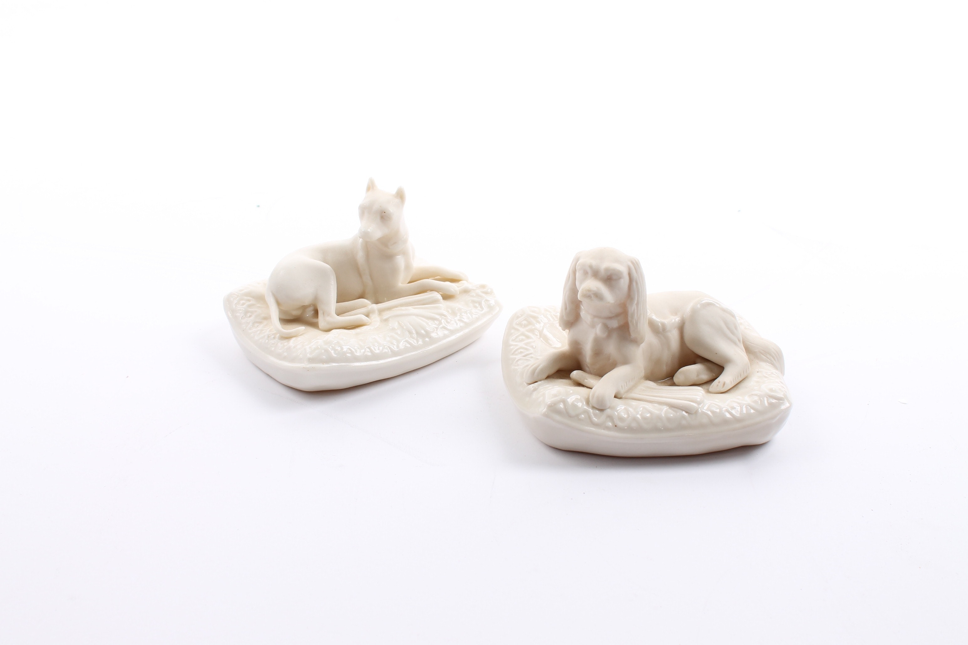 Belleek Porcelain Spaniel and Boxer on Pillows