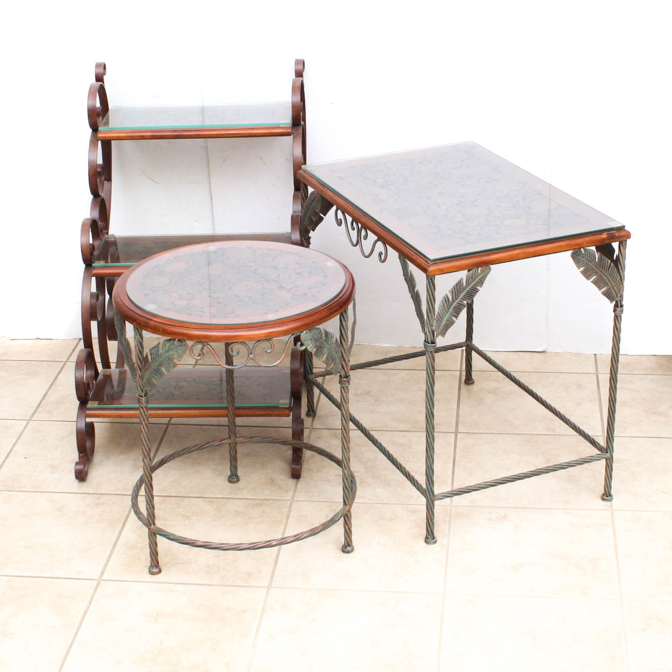 Set of Wood and Metal Accent Tables