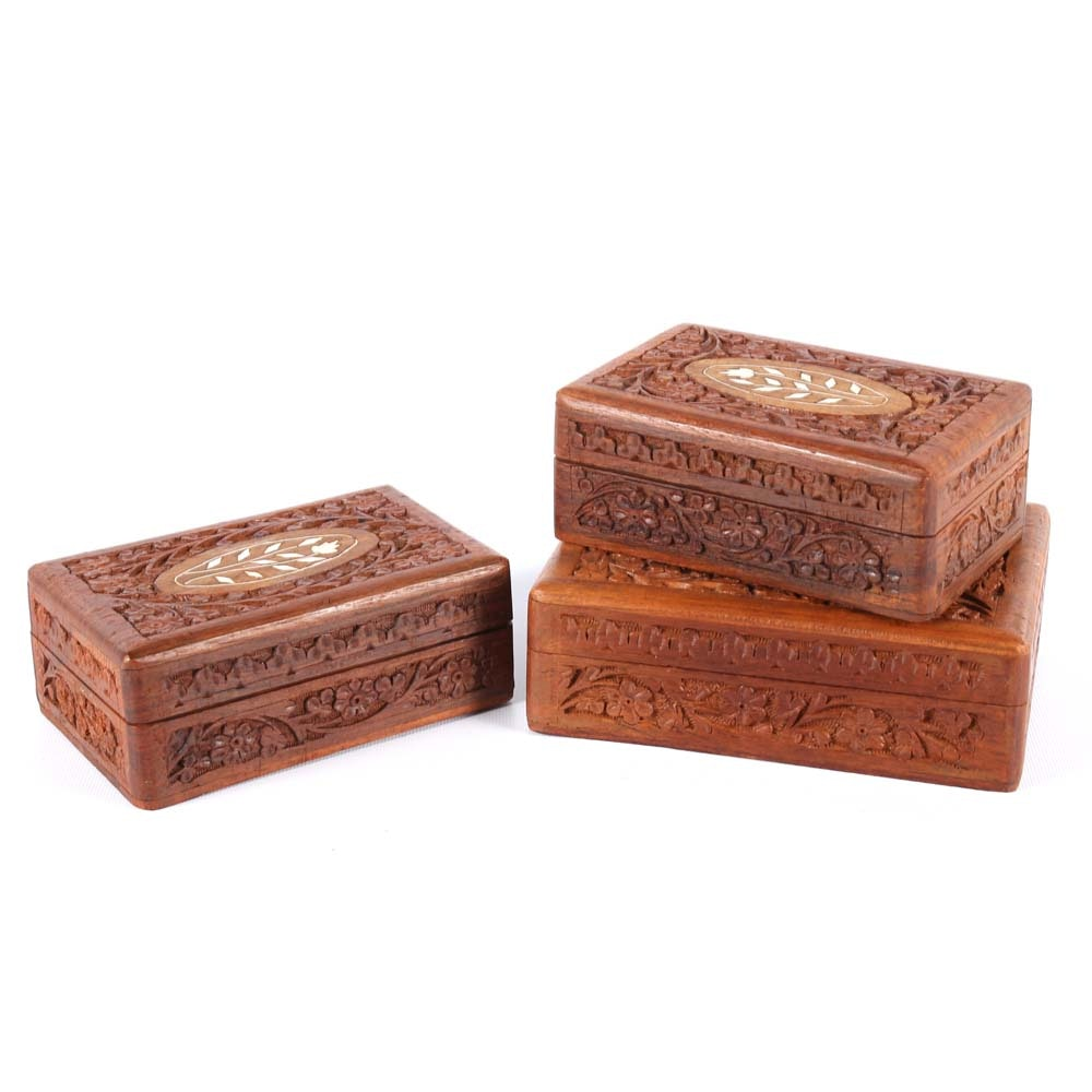 Carved and Inlaid Foliate Wooden Decorative Boxes