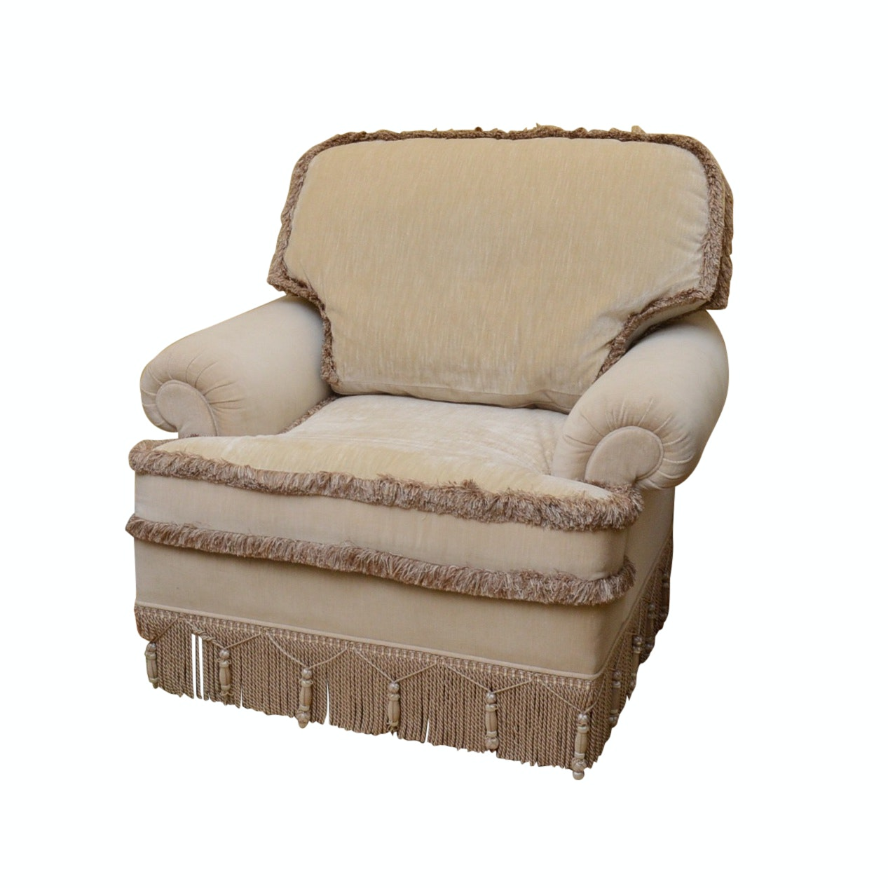 Custom Upholstered Stroheim & Romann Belgian Linen Velvet Occasional Chair