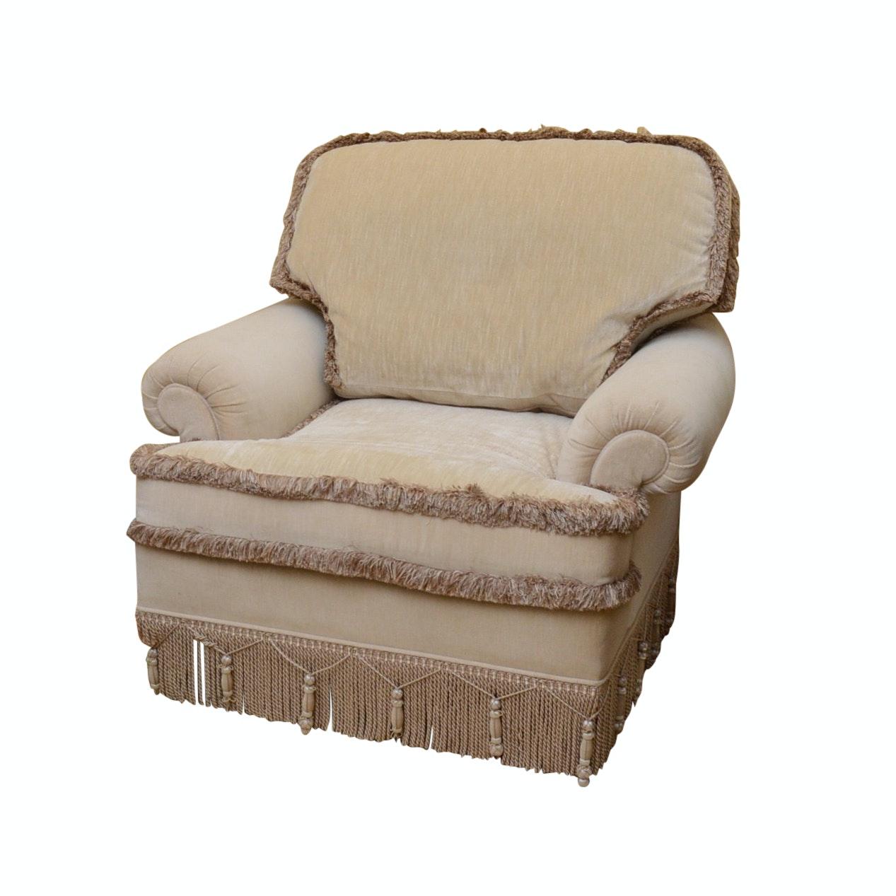 Custom Upholstered Stroheim & Romann Velvet Occasional Chair