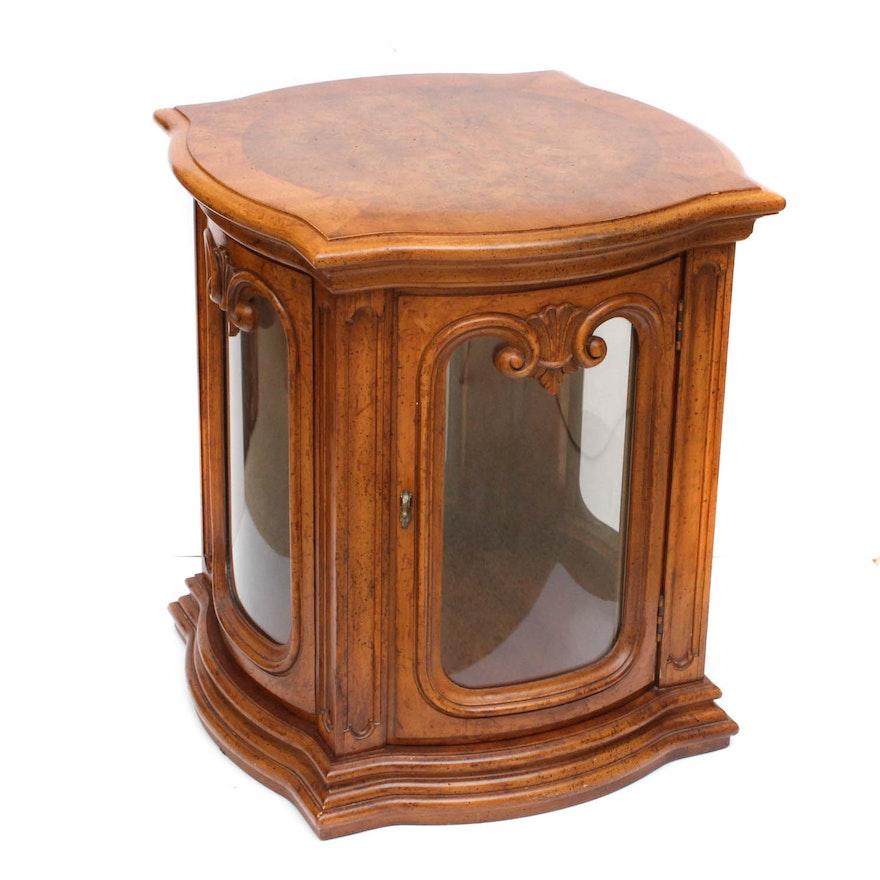 Vintage Weiman Furniture Hardwood and Glass Lighted Display Side Table ... - Vintage Weiman Furniture Hardwood And Glass Lighted Display Side