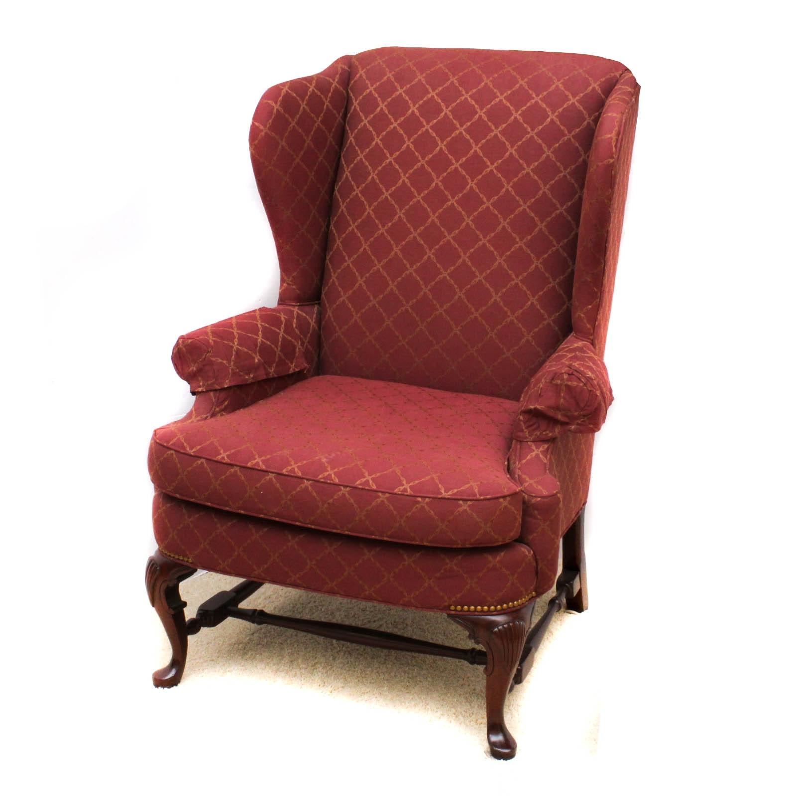 Queen Anne-Style Wing Back Armchair