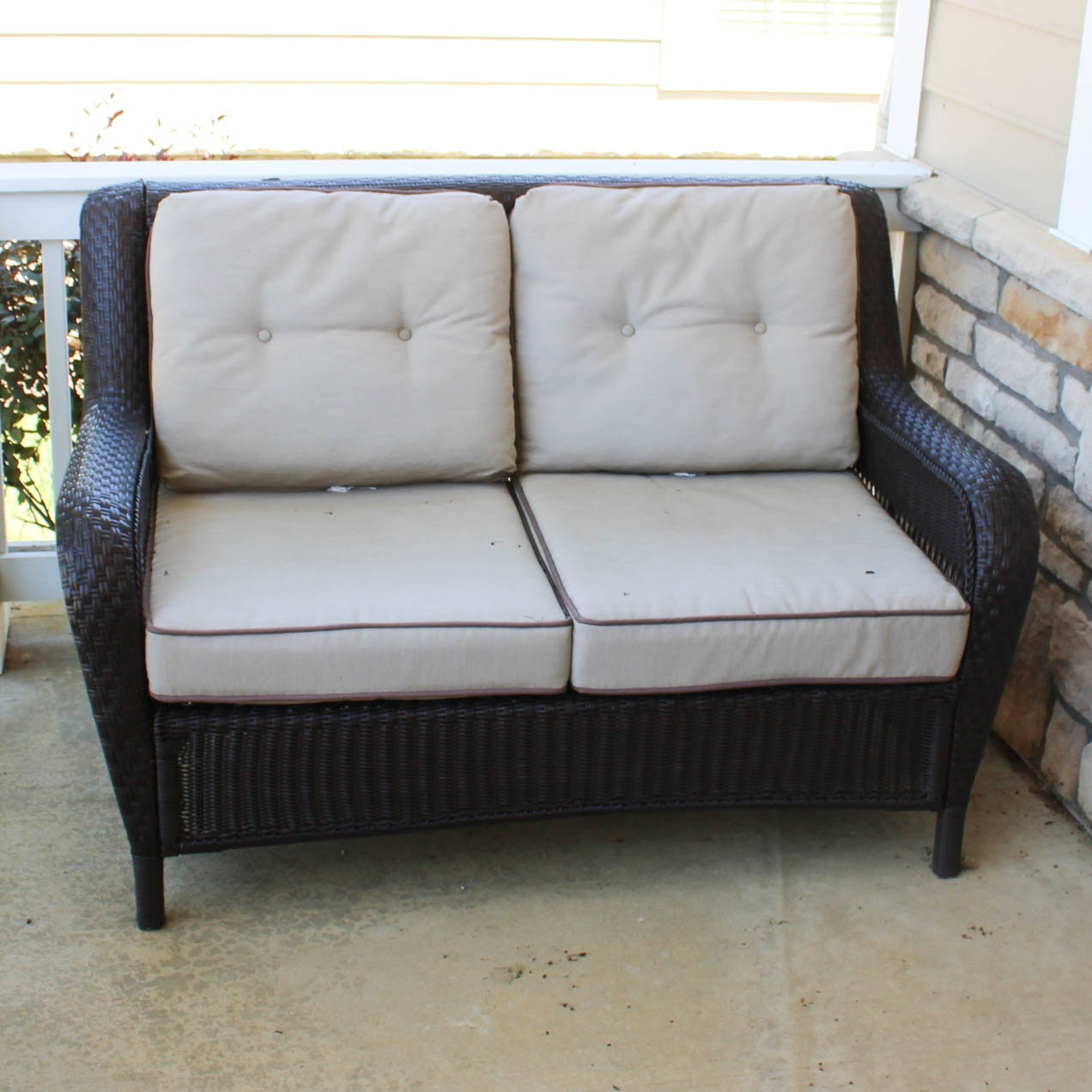 All Weather Wicker Patio Settee ...