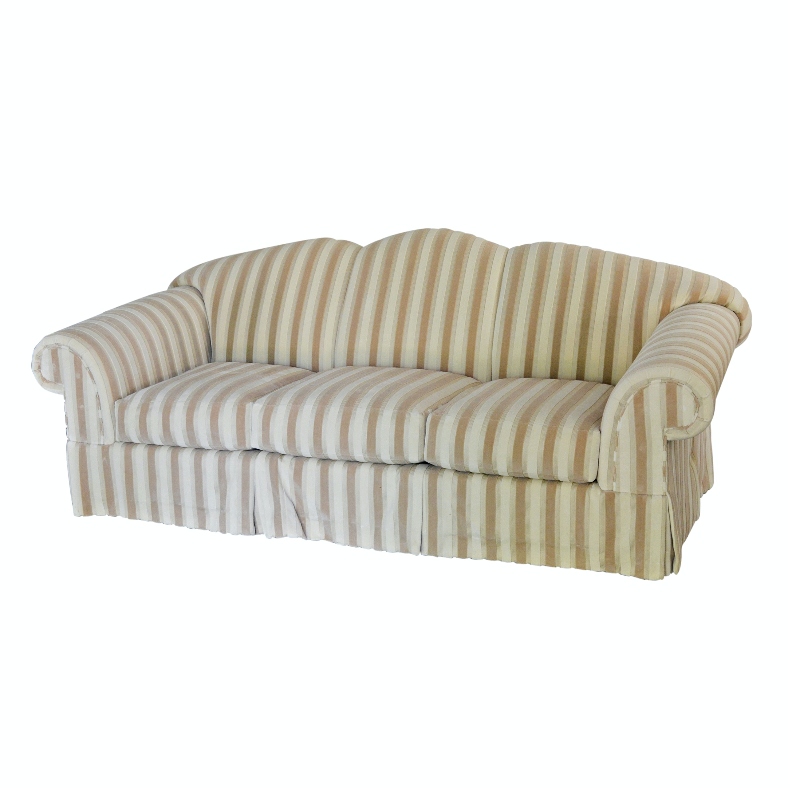 Cream and Taupe Striped Sofa by Jeffco