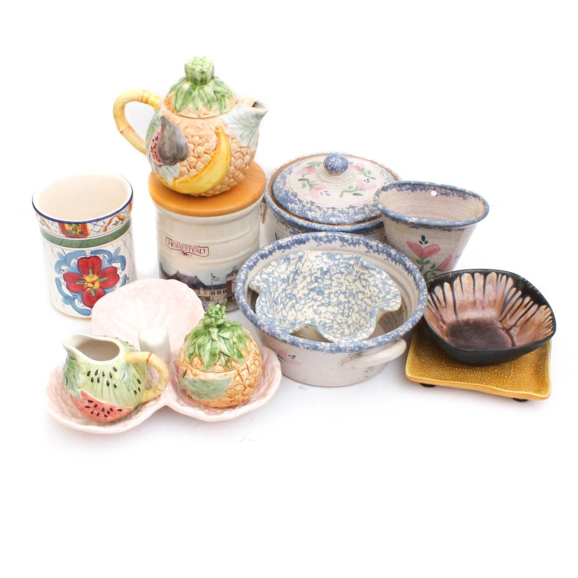 Ceramic Tableware and Decor Featuring Longaberger