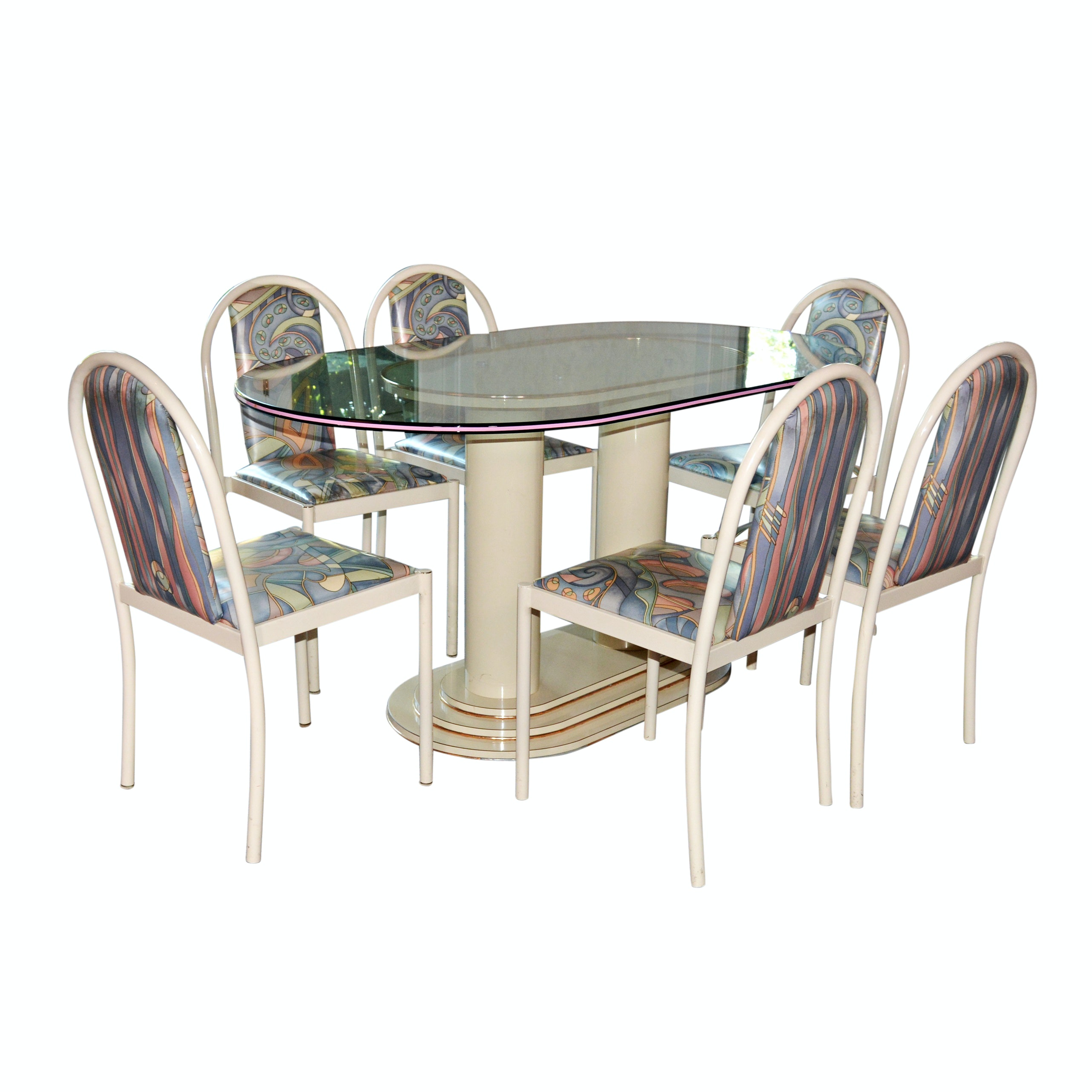 Contemporary Oval Glass Table and Chairs from Greiwe Interiors