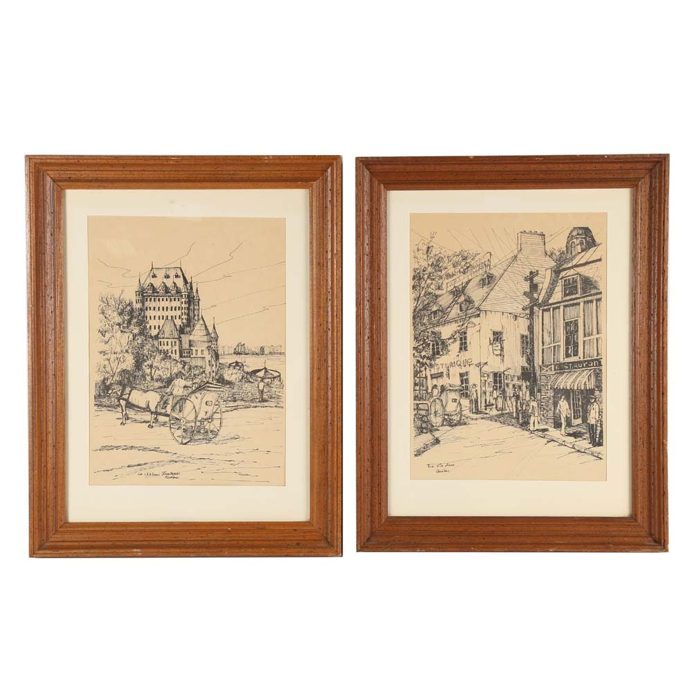 Pair of Quebec Street Scene Reproduction Prints