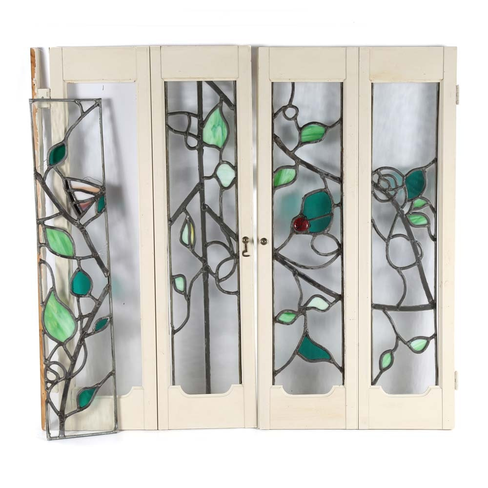 Pair of Vintage Glass and Slag Glass Panes