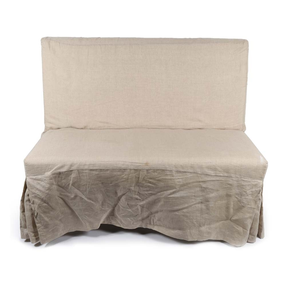 Crate & Barrel Slip Bench with Linen Slip Cover