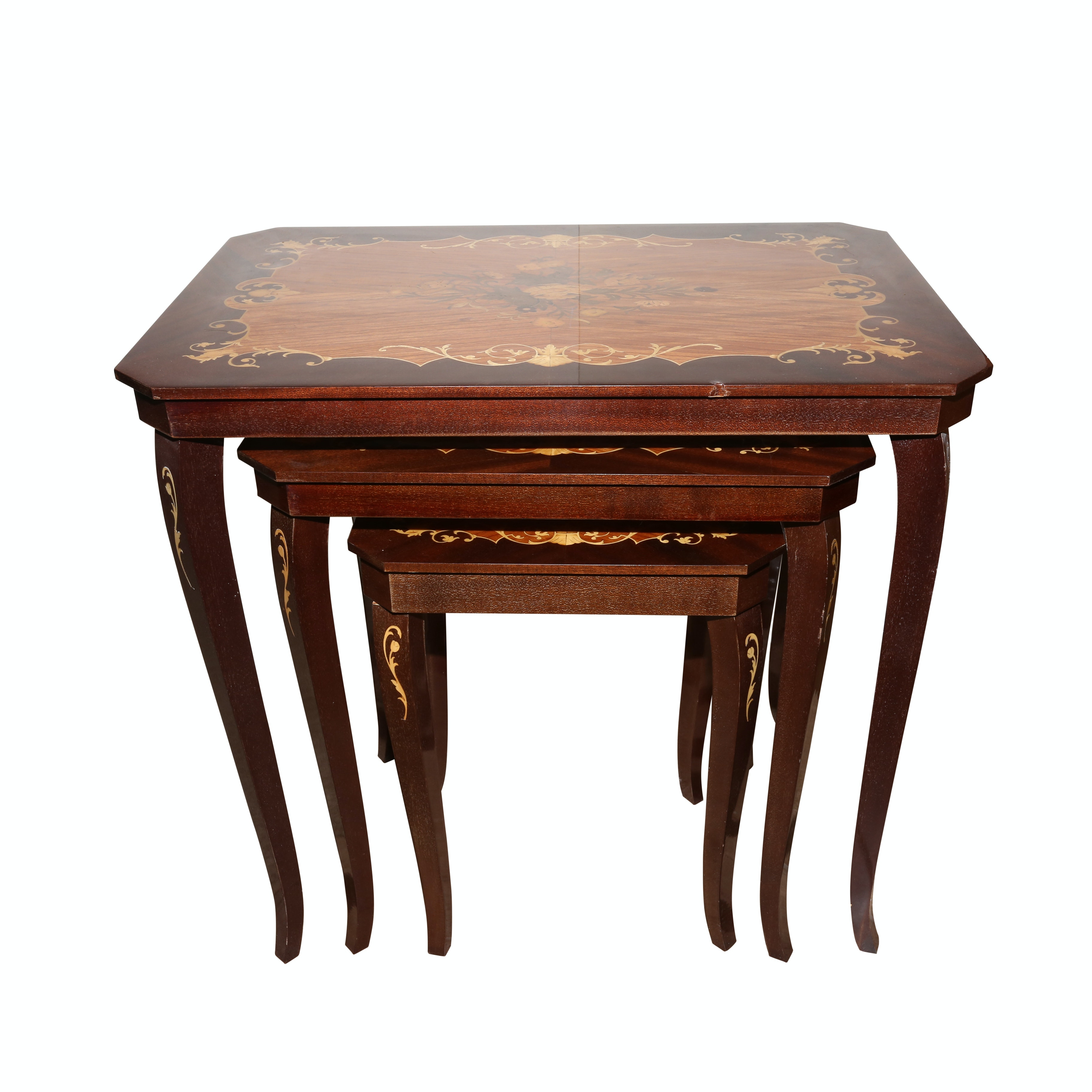 Italian Marquetry Style Nesting Tables