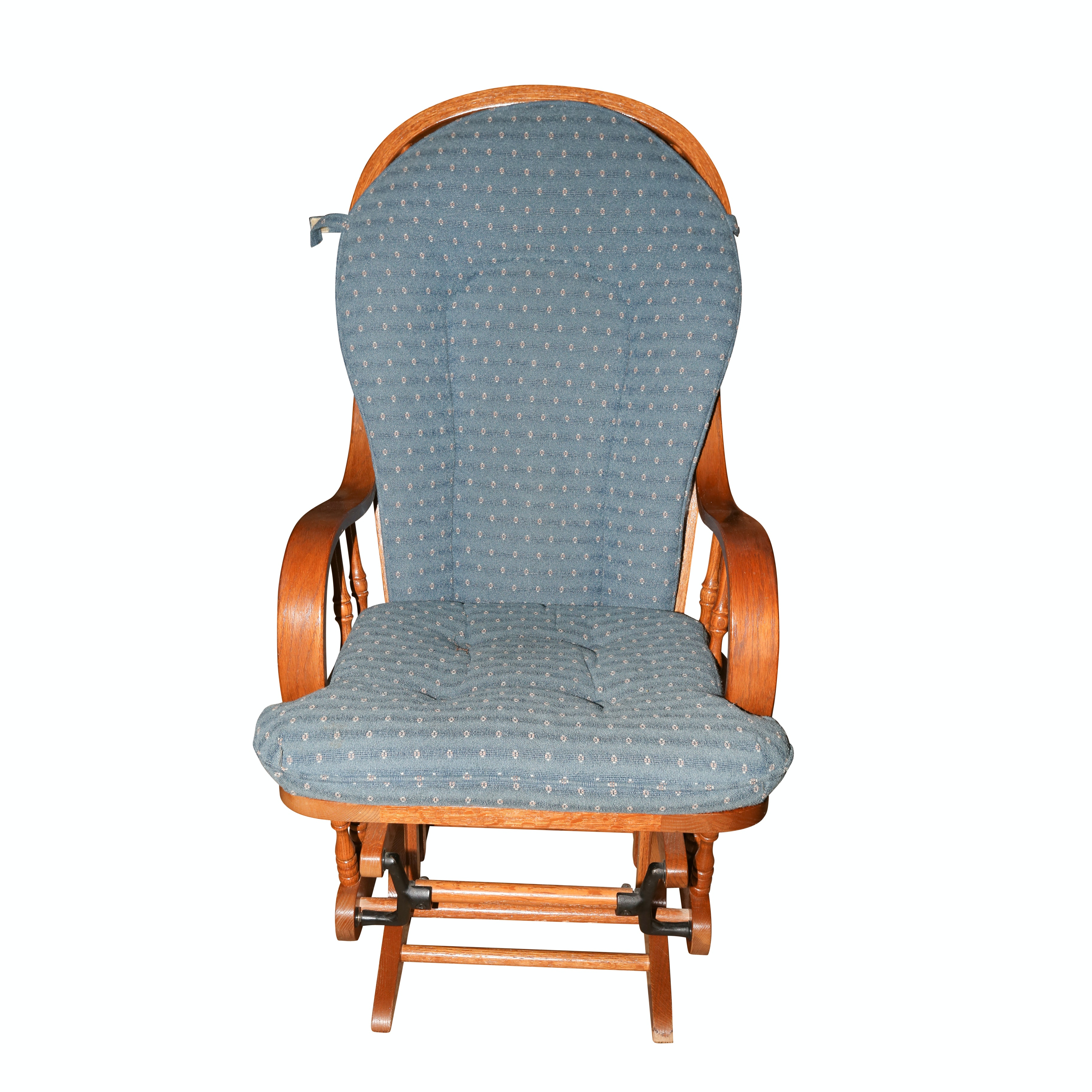 Oak Glider Rocking Chair with Removable Cushions