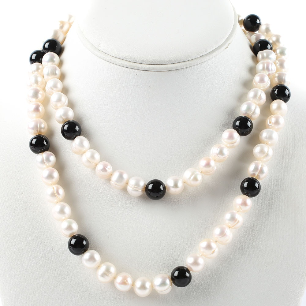 Sterling Silver, Freshwater Pearl, and Black Onyx Necklace