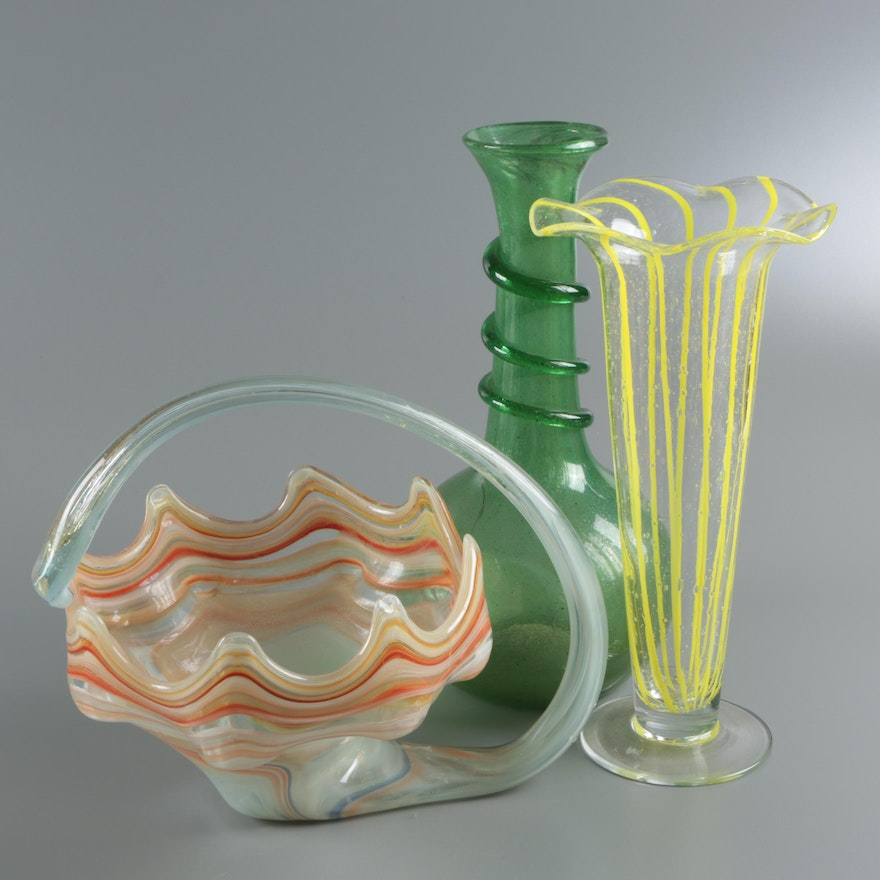 Art Glass Vases And Bowl Ebth