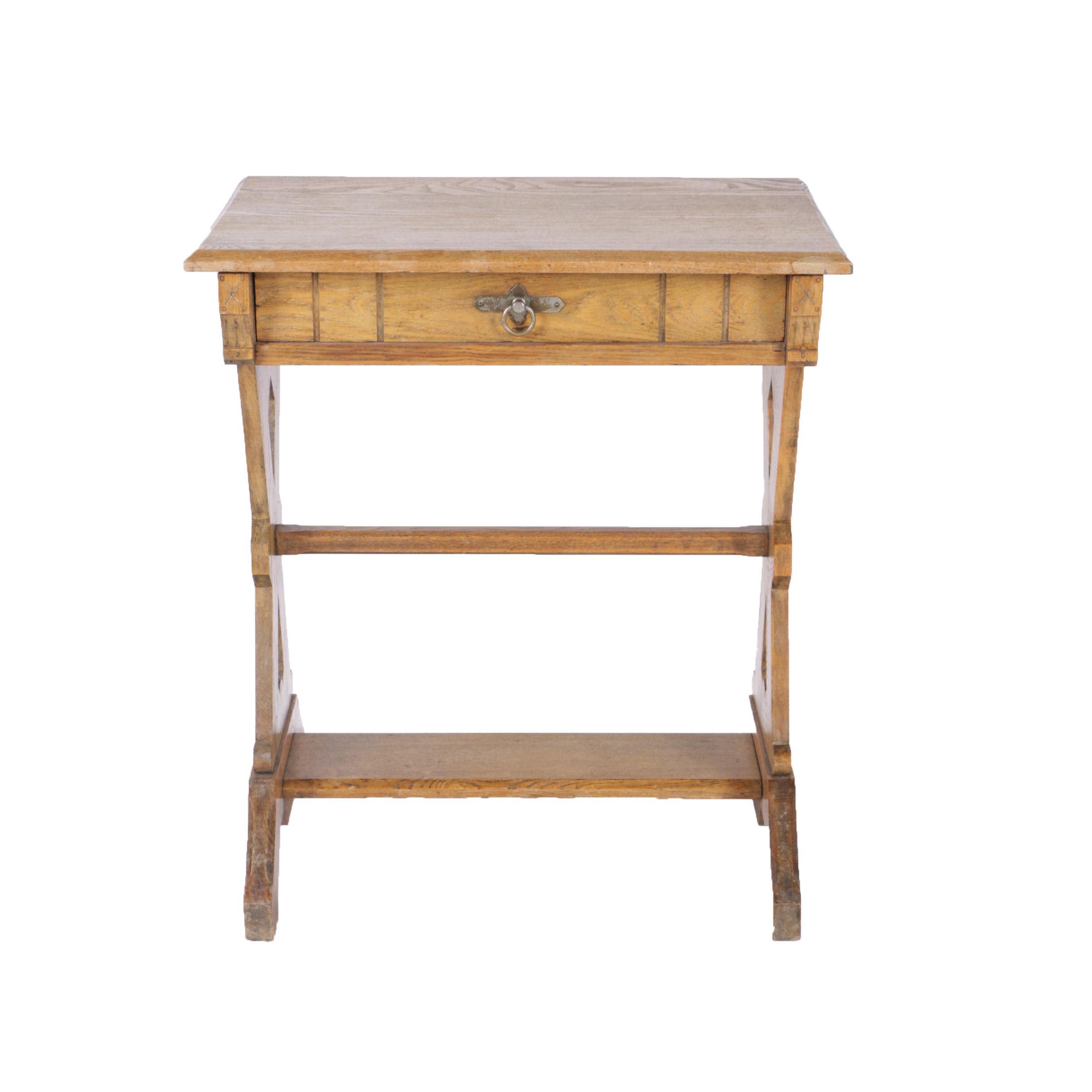 Oak Trestle Leg Side Table