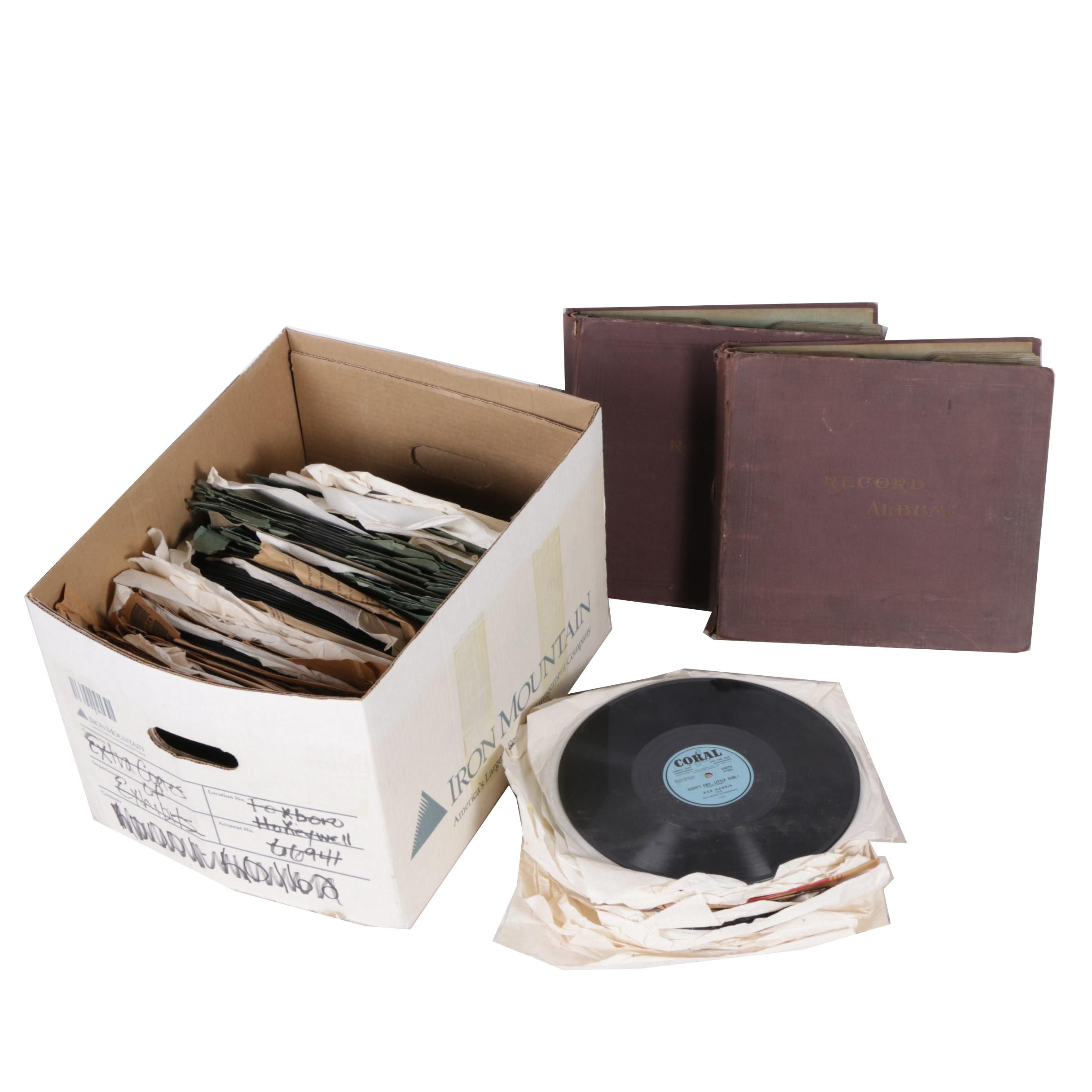 Early 20th Century Big Band, Folk, and Jazz 78 RPM Records and Storage Binders
