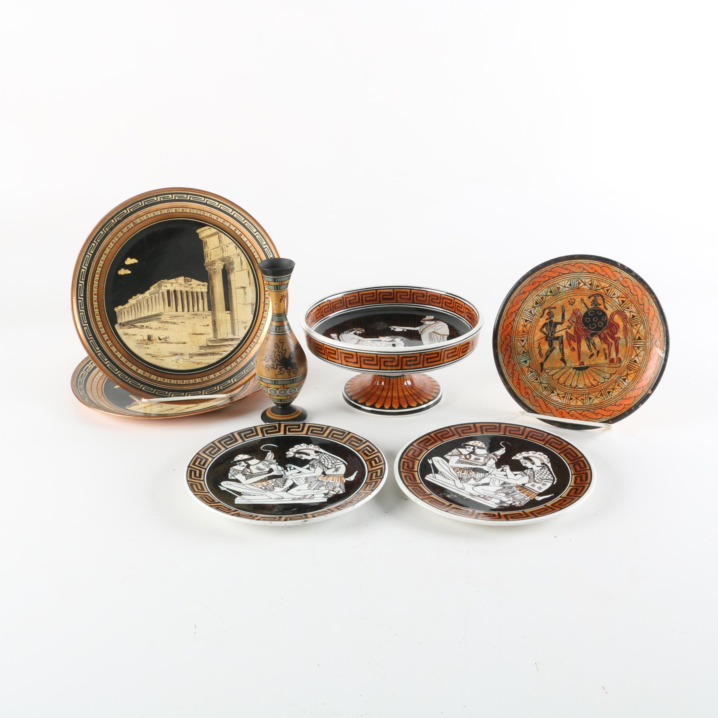 Decorative Grecian Ceramic and Copper Tableware