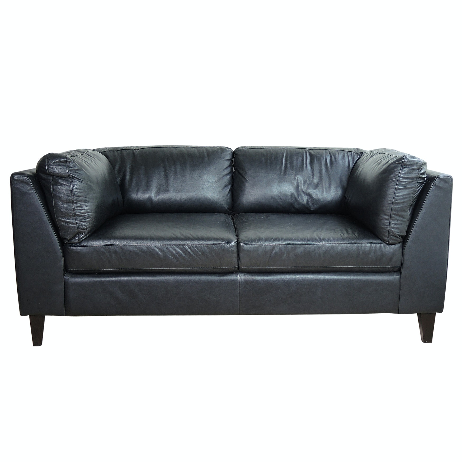 EQ3 Salema Black Leather Love Seat