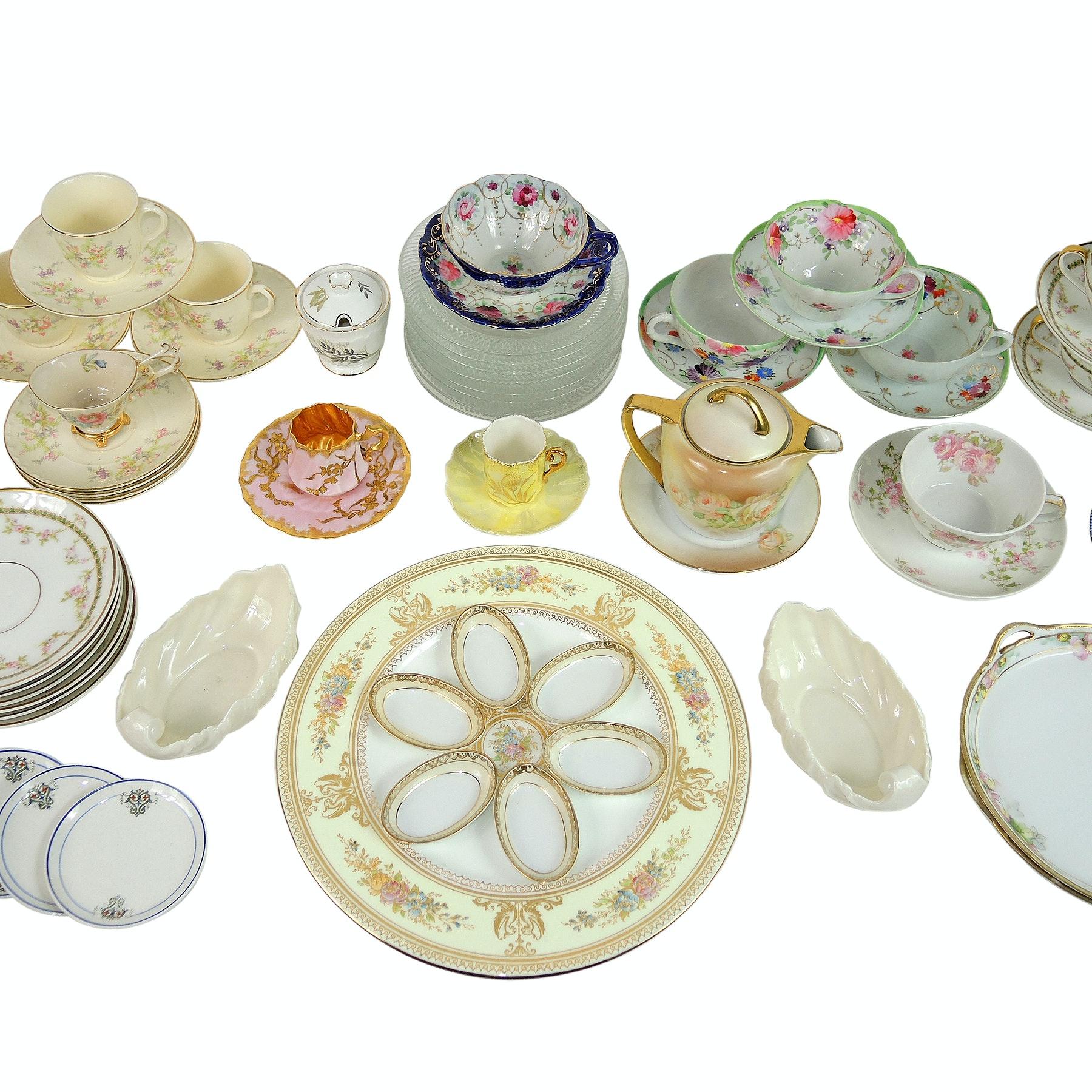 Vintage Porcelain Hand-Painted Tableware including Belleek, Limoges and Wedgwood