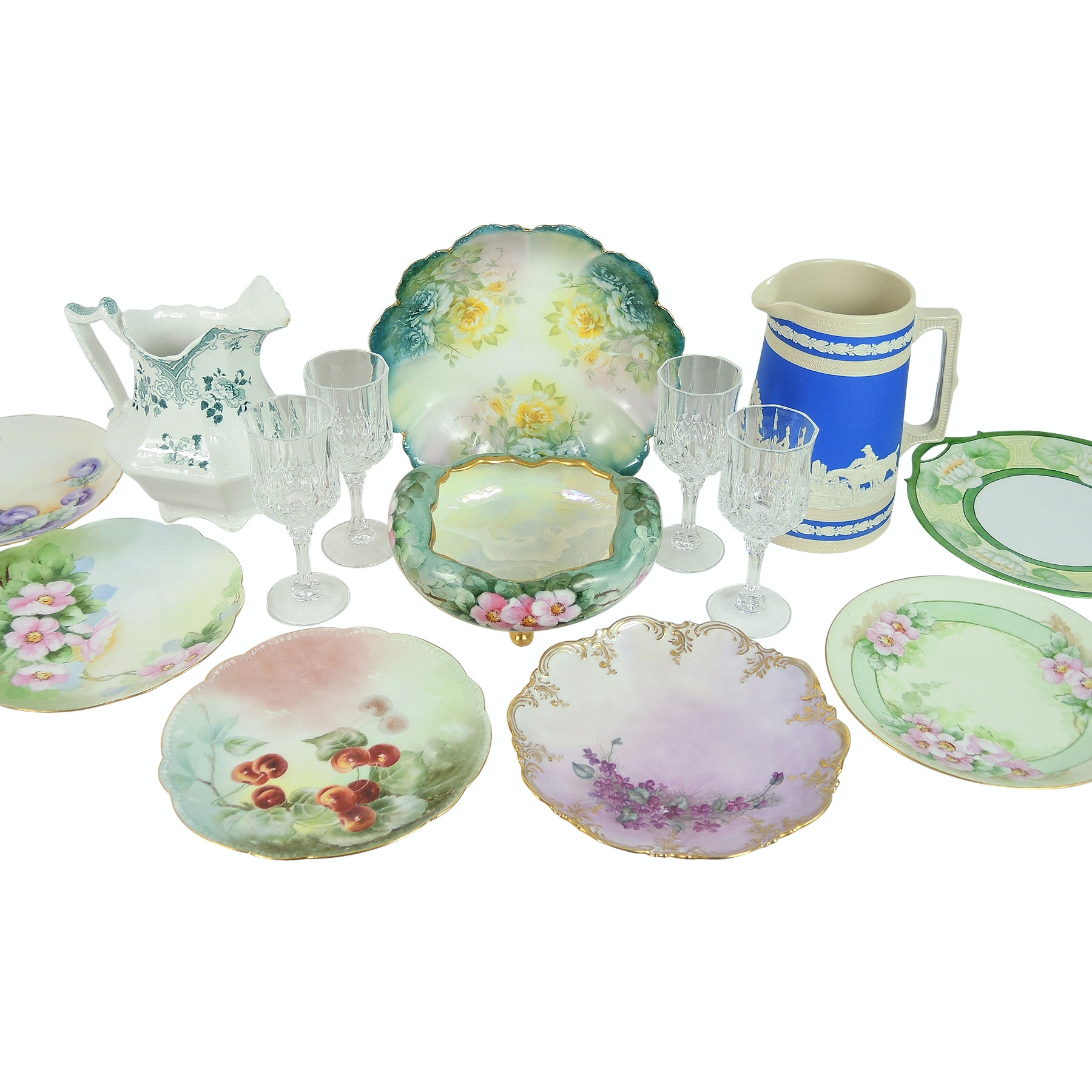 Hand-Painted Porcelain and China Collection with Copeland Spode Hunting Pitcher