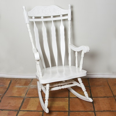 Vintage White Painted Rocking Chair - Vintage Chairs, Antique Chairs And Retro Chairs Auction In Art