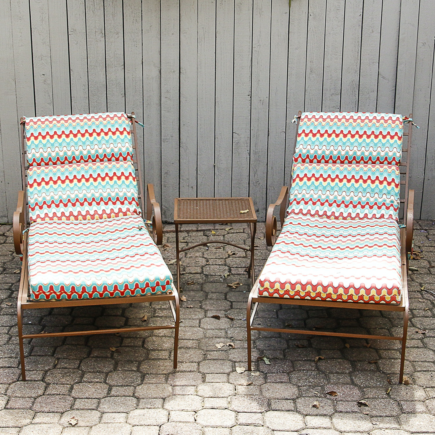 Metal Patio Chaise Lounges with Side Table and Pillow Perfect Cushions