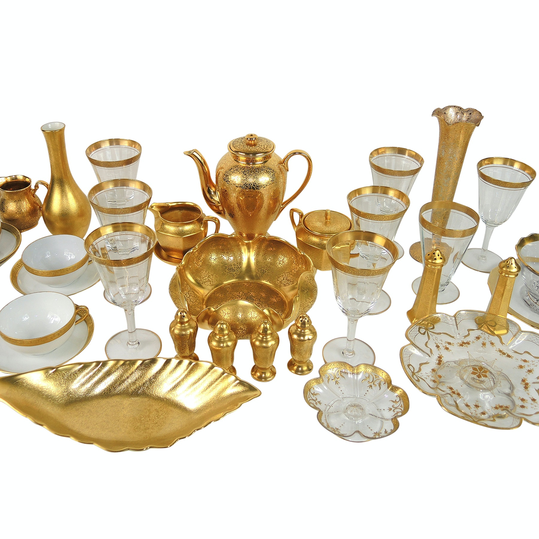 Tiffin-Franciscan, Wheeling and Pickard Gilded Glass and Porcelain Tableware