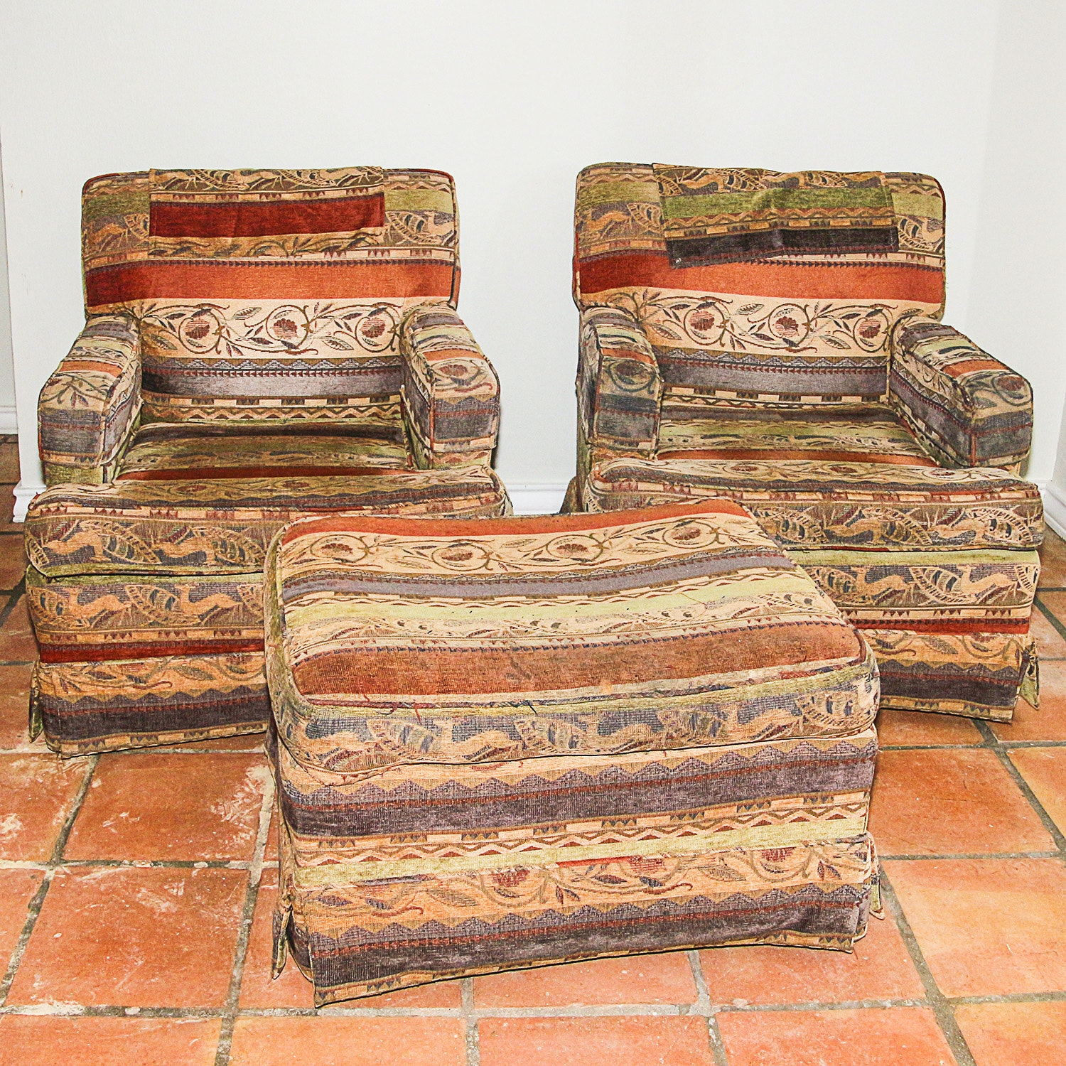 Upholstered Armchairs with Ottoman