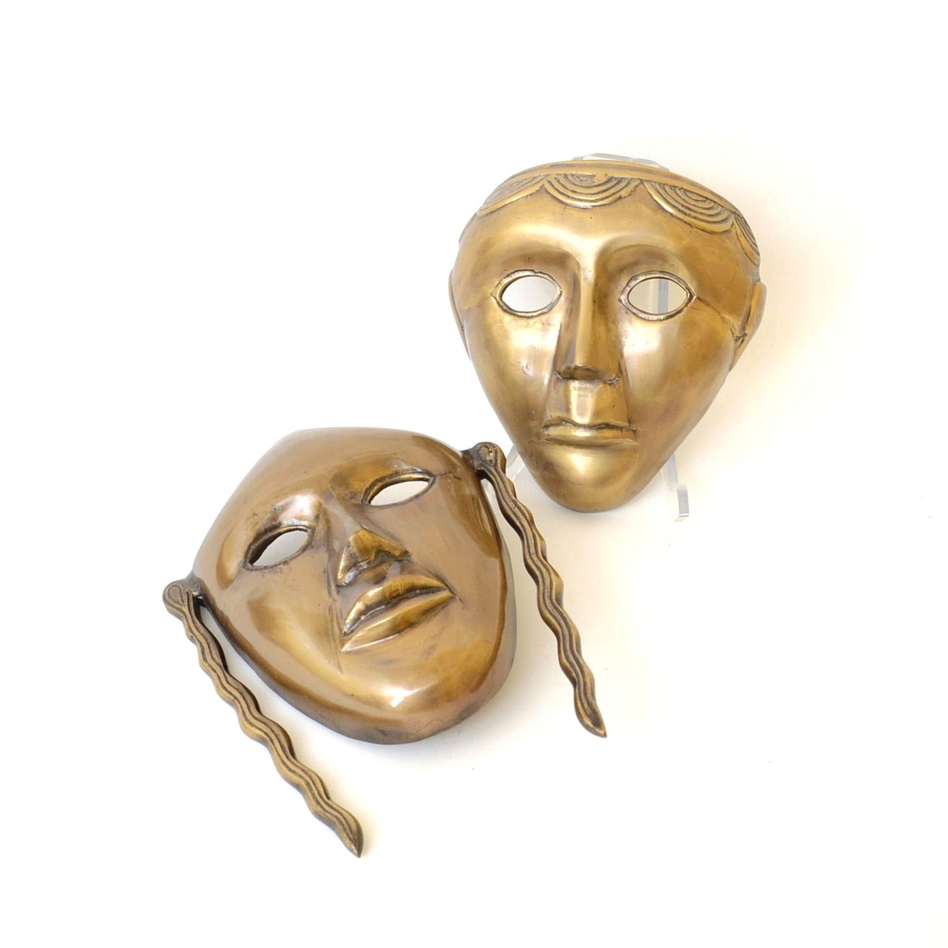 Pair of Brass Masks Wall Plaques